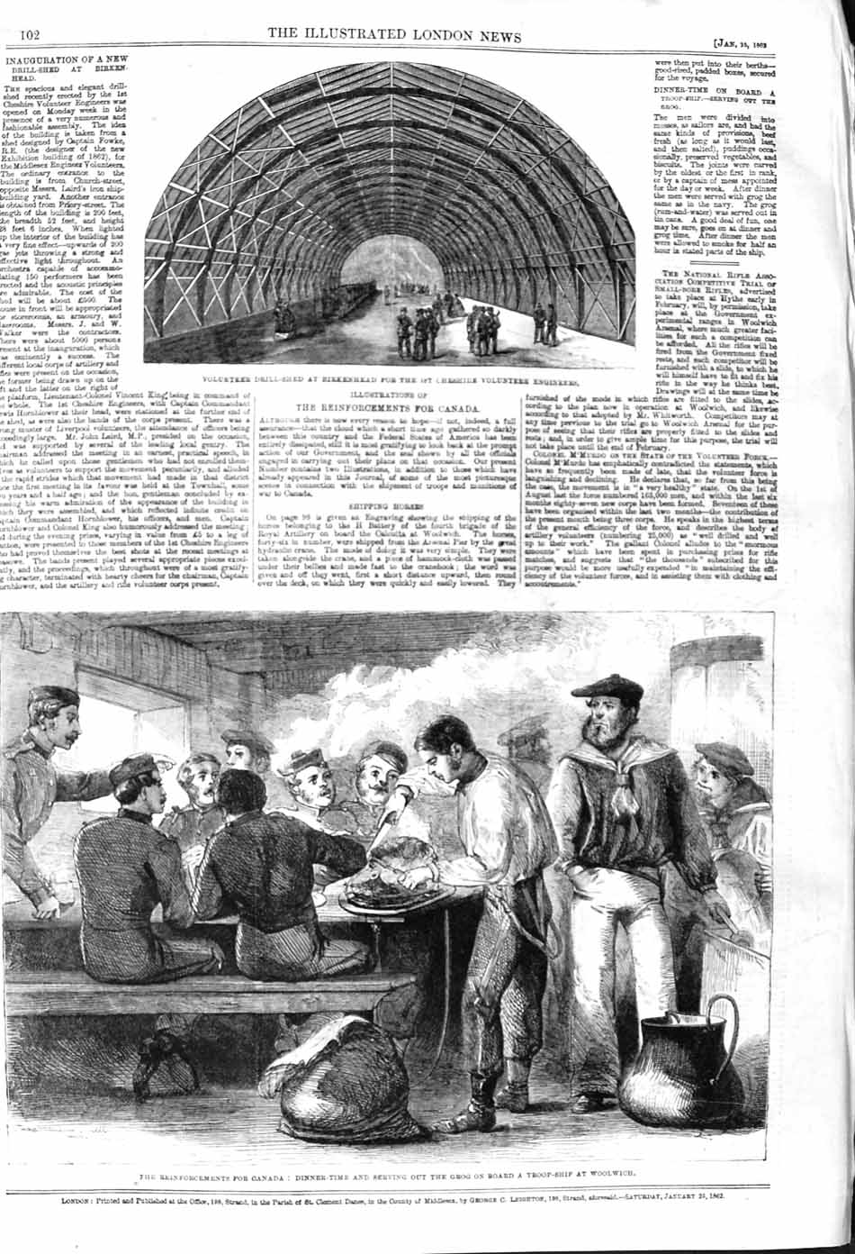 [Print 1862 Drill Shed Birkenhead Cheshire Canada Woolwich 102P140 Old Original]