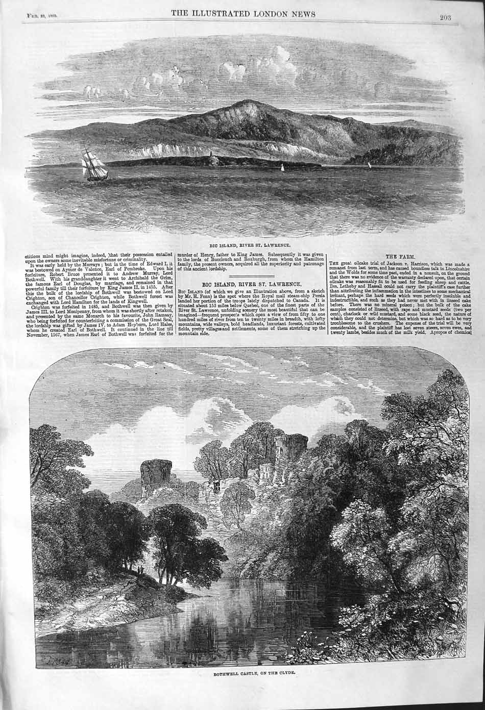 [Print 1862 Bic Island River Lawrence Bothwell Castle Clyde 203P140 Old Original]