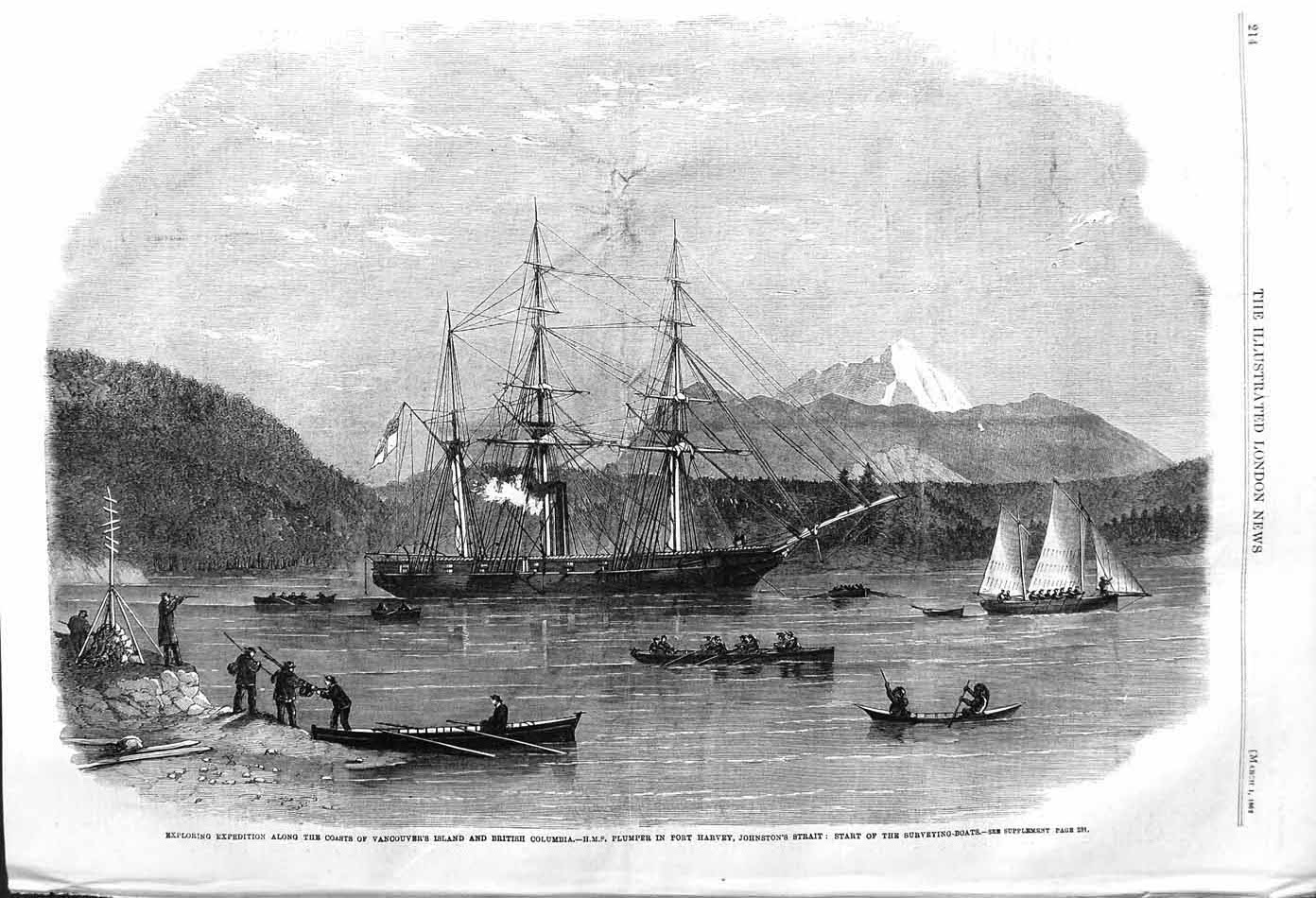 [Print 1862 Vancouver Island Columbia Harvey Ships Plumper 214P140 Old Original]