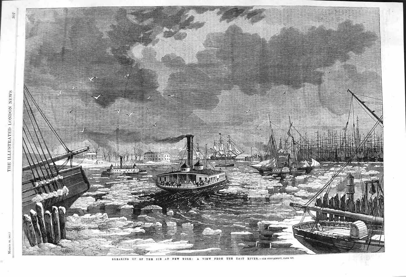 [Print 1862 Breaking Up Ice New York America East River 307P140 Old Original]