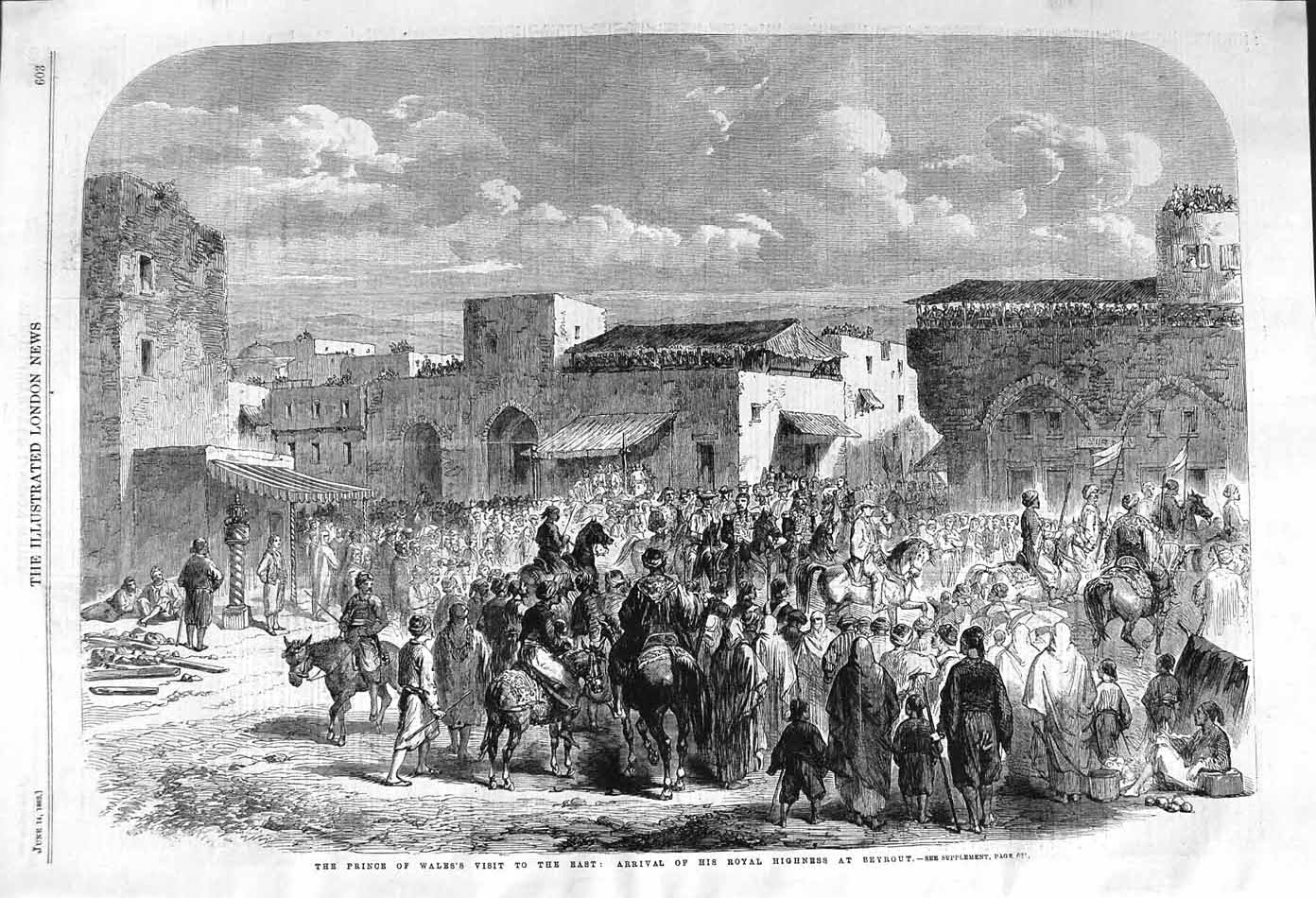 [Print 1862 Prince Wales Scene Arrival Beyrout Chinese People 603P140 Old Original]
