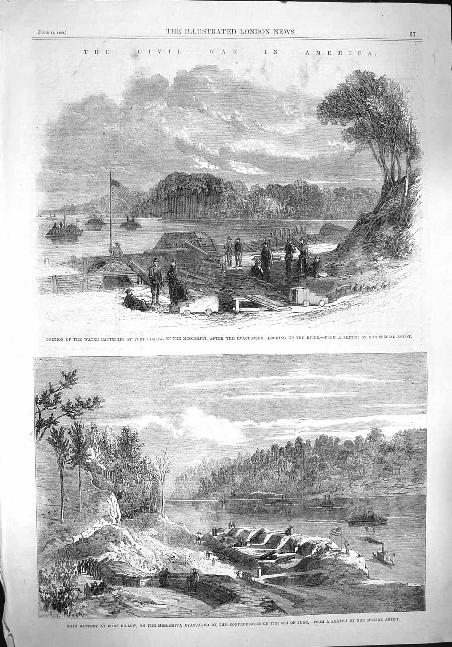 [Print 1862 War America Fort Pillow Mississippi Civil Wars 037P141 Old Original]
