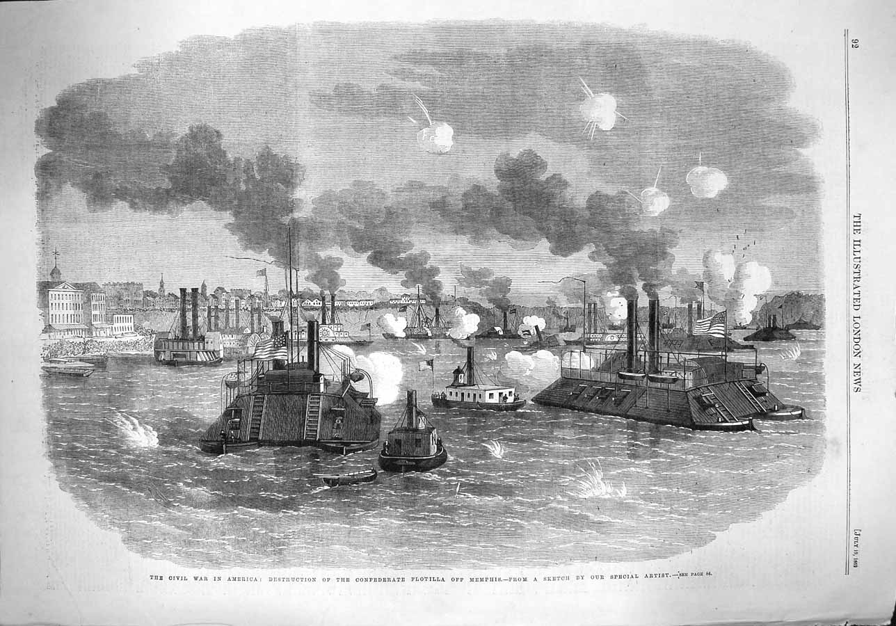 [Print 1862 War America Civil War Flotilla Memphis Ships 092P141 Old Original]