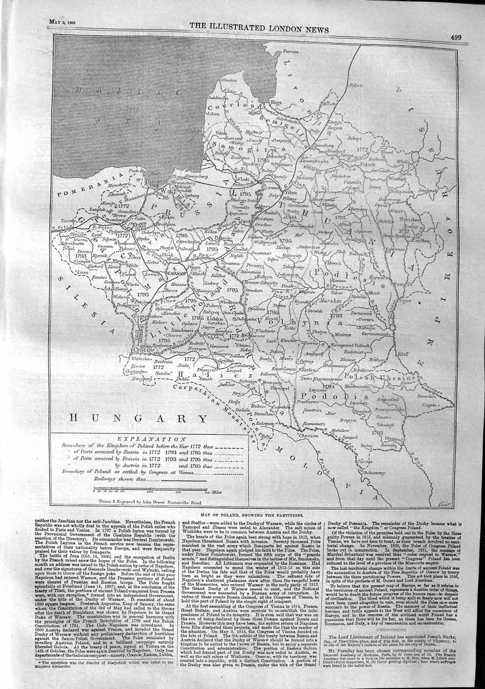 [Print 1863 Map Poland Partitions Prussia Volhynia Podolia  Old Original]