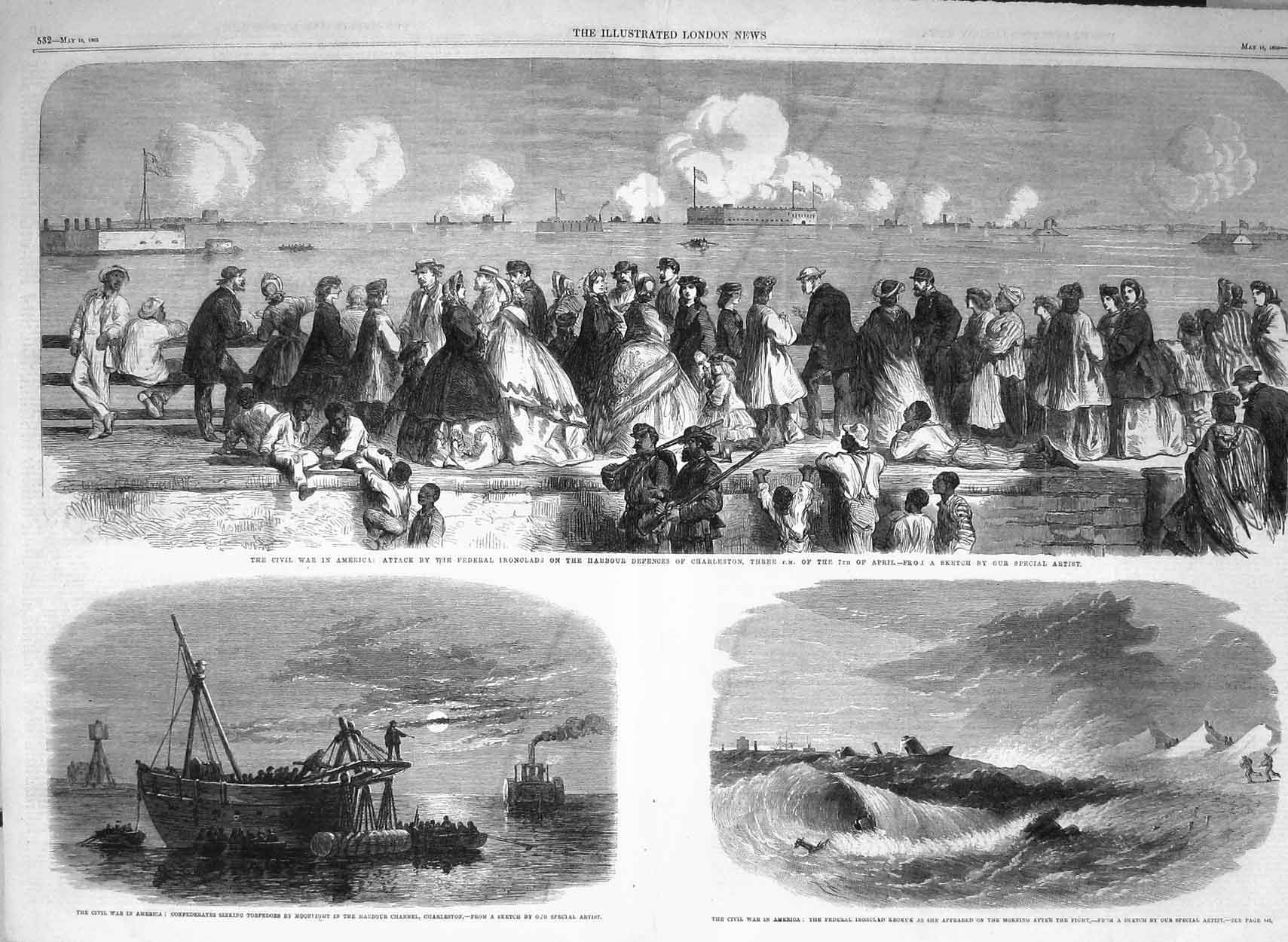 [Print 1863 War America Charleston Ferderals Civil Wars Boat 531Tp142 Old Original]