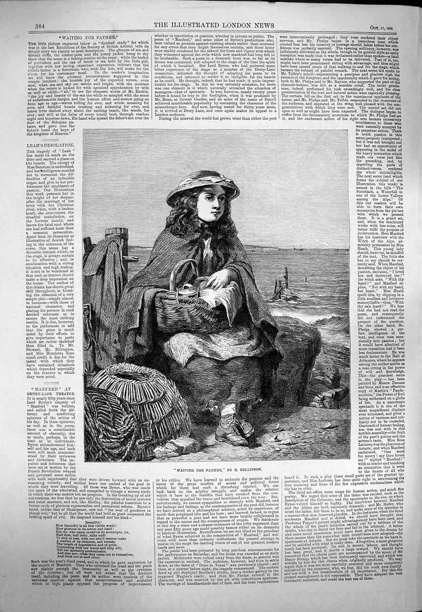 [Print 1863 Collinson Art Little Girl Waiting For Father Beach 384P143 Old Original]