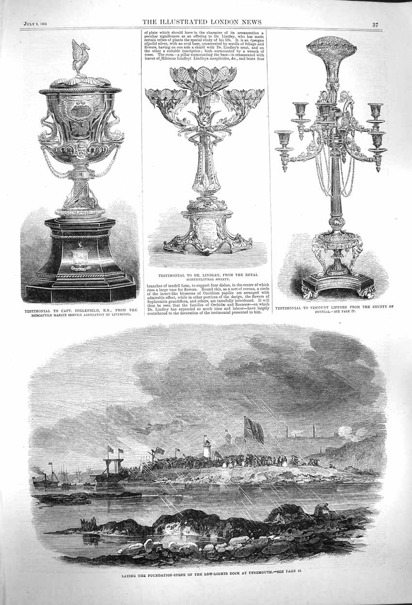 Print 1864 Foundation Dock Tynemouth Lindley Inglefield Cup 037P145 Old Original