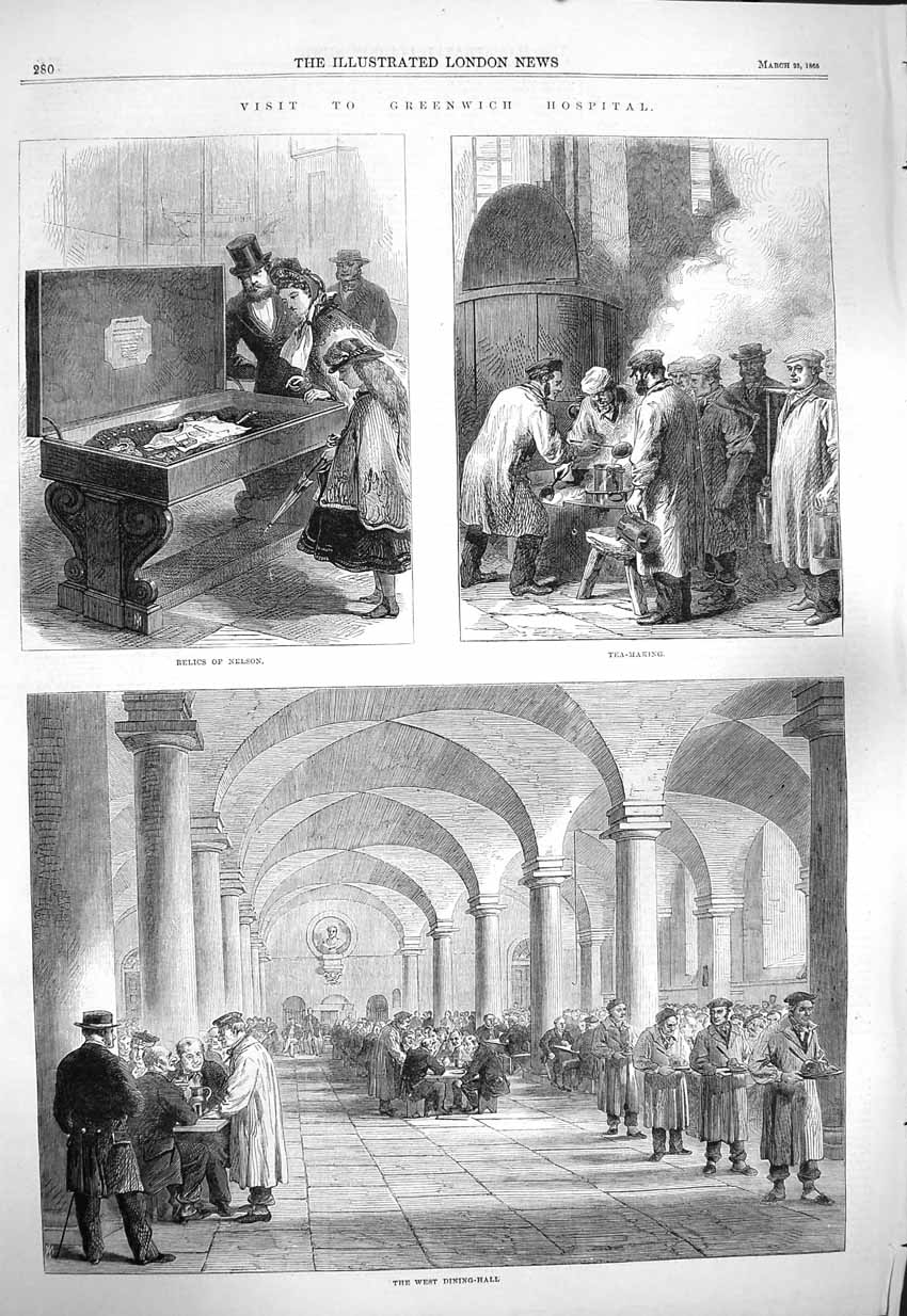 [Print 1865 Greenwich Hospital Nelson Relics Kitchen Dining 280P146 Old Original]