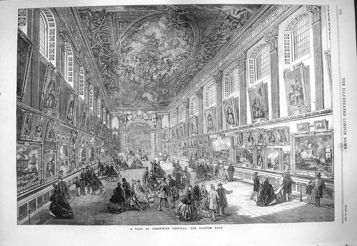 [Print 1865 Greenwich Hospital Painted Hall Nelson Centurion 376P146 Old Original]
