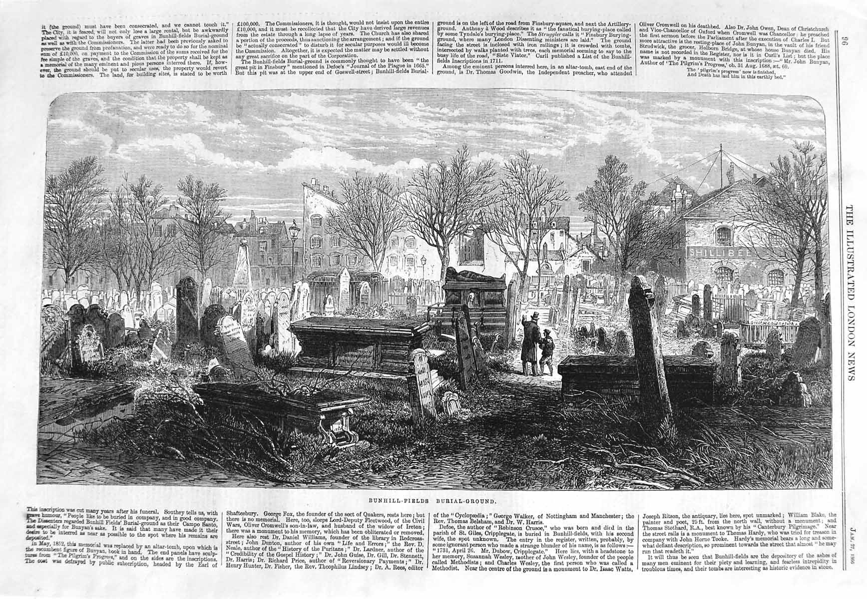 Print 1866 Bunhill Fields Burial Ground Graves Fine Art 096P148 Old Original
