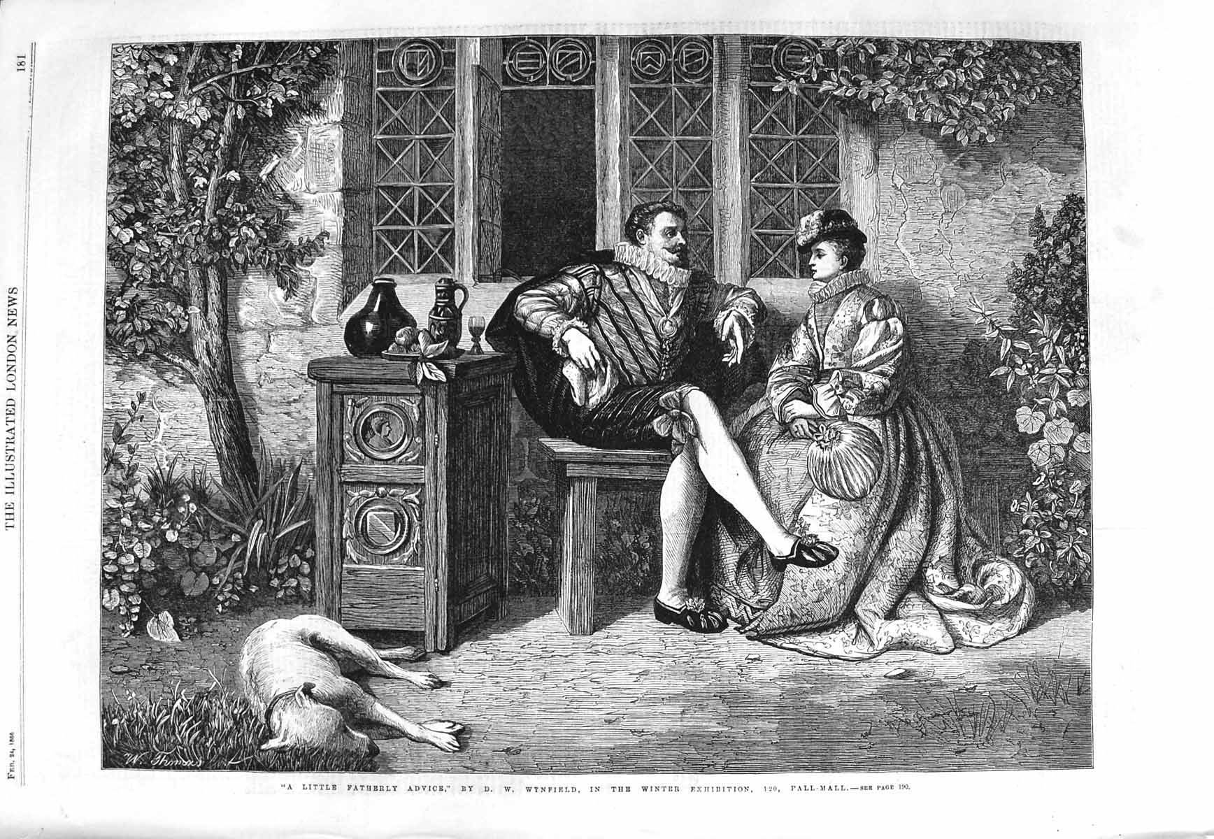 [Print 1866 Father Daughter House Dog Wynfield Fine Art 181P148 Old Original]