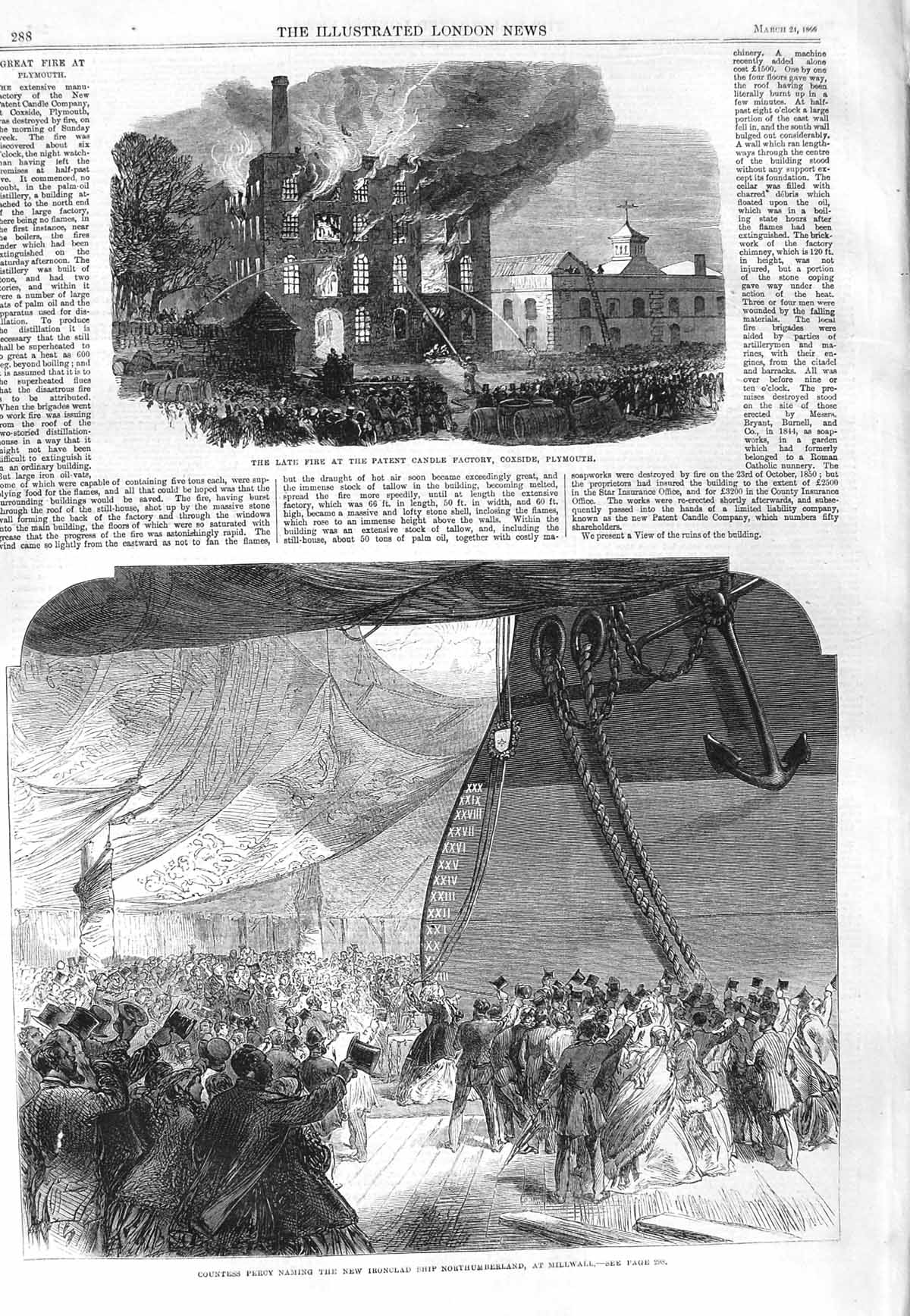 [Print 1866 Fire Factory Coxside Plymouth Northumberland Ship 288P148 Old Original]