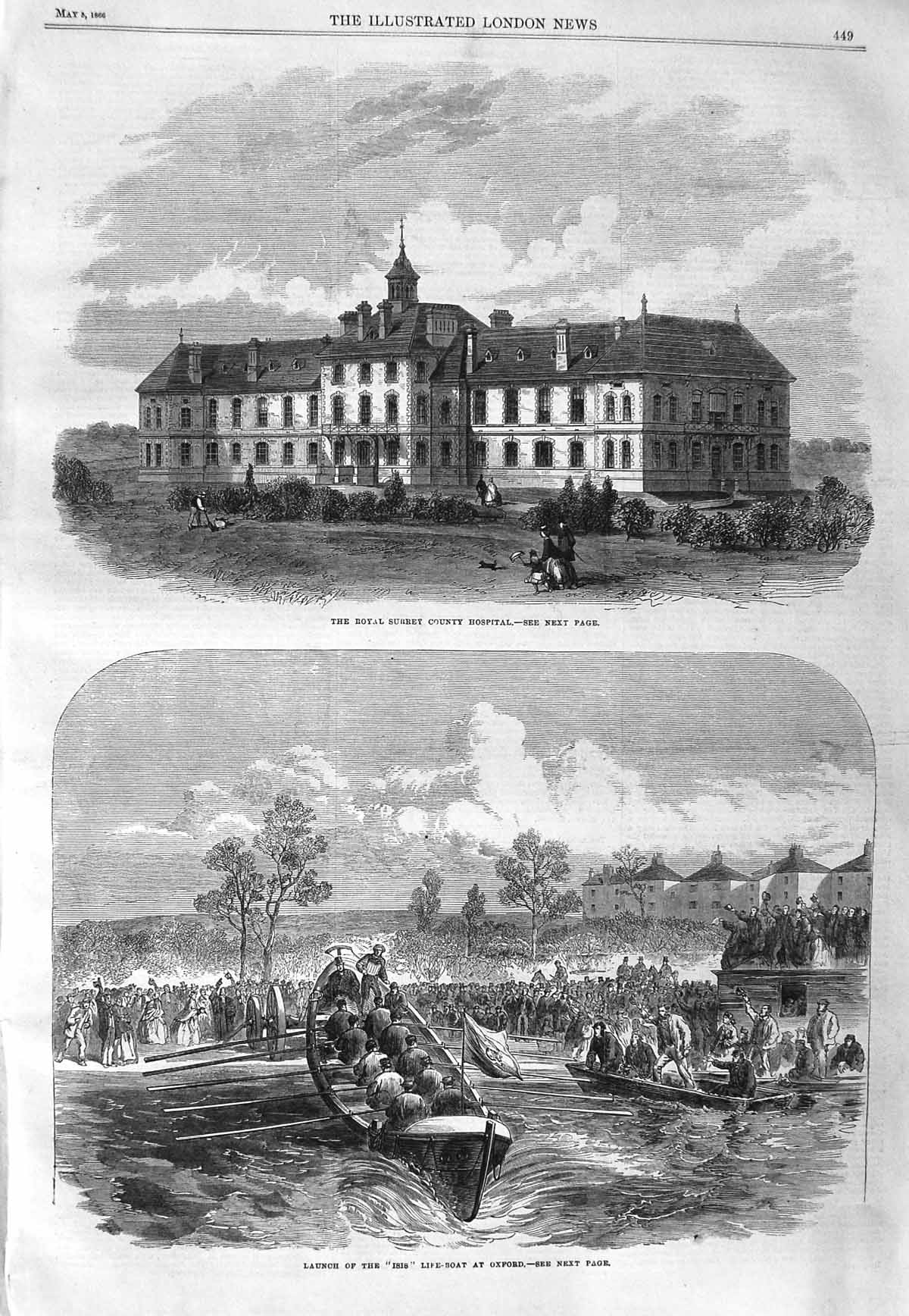 [Print 1866 Royal Surrey County Hospital Isis Life-Boat Oxford 449P148 Old Original]