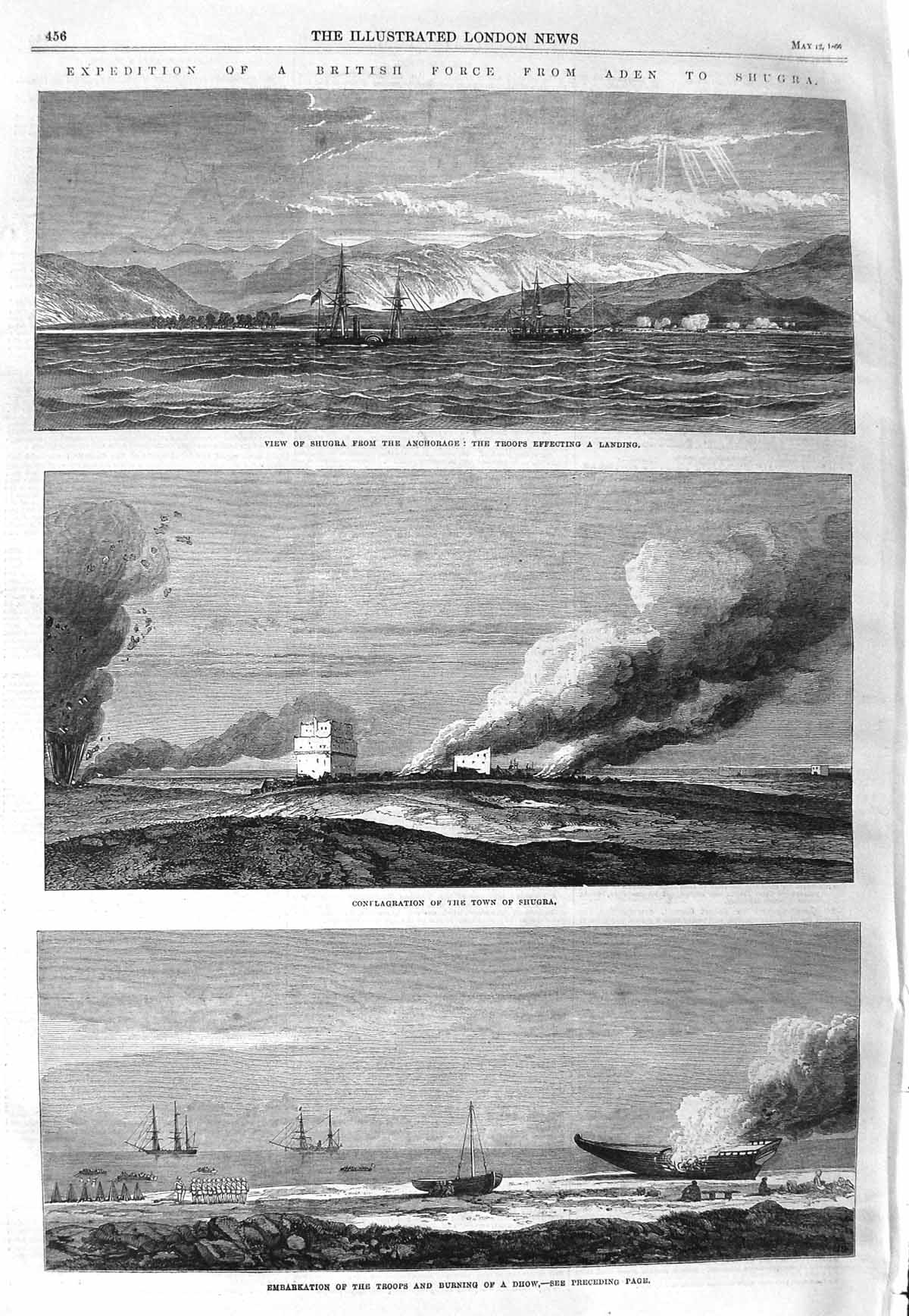 [Print 1866 Shugra British Troops War Fire Ships Dhow War 456P148 Old Original]