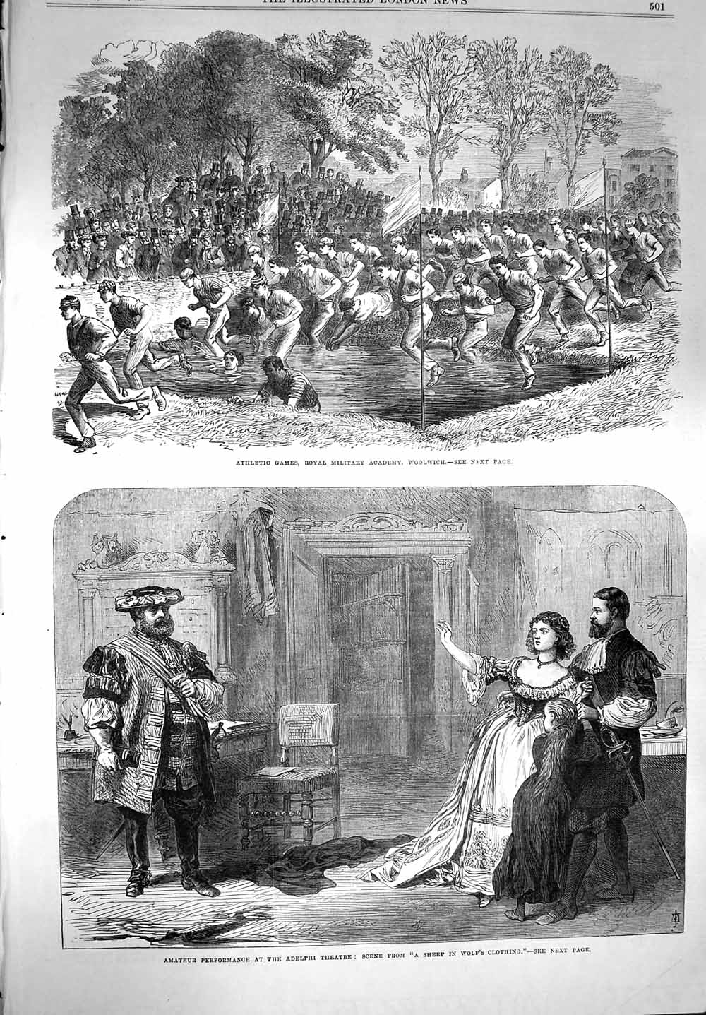 [Print 1867 Athletic Games Woolwich Adelphi Theatre Sheep 501P150 Old Original]