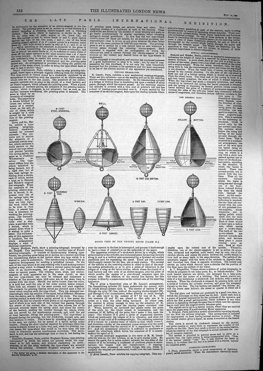 Print 1867 Buoys Uses Trinity House Herbert Foot Can Bell  Old Original