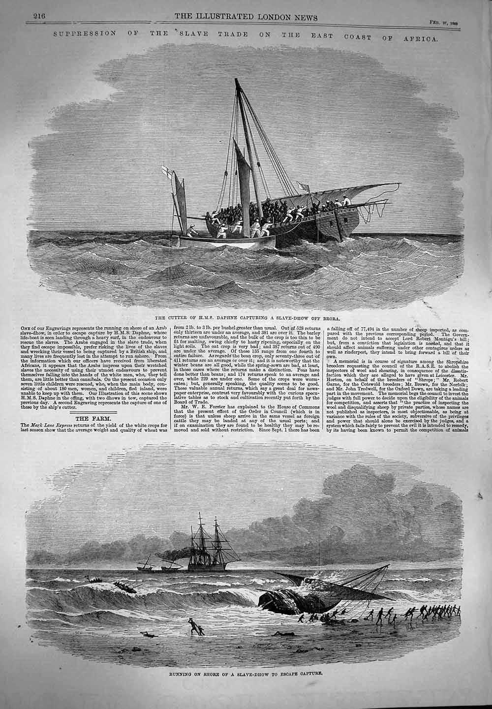 [Print 1869 Cutter Ship Daphne Slave-Dhow Brora Africa Old Original]
