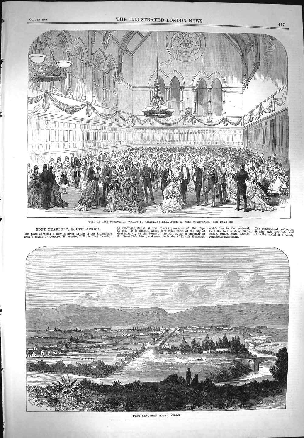 [Print 1869 Prince Wales Chester Ball Fort Beaufort Africa 417P155 Old Original]