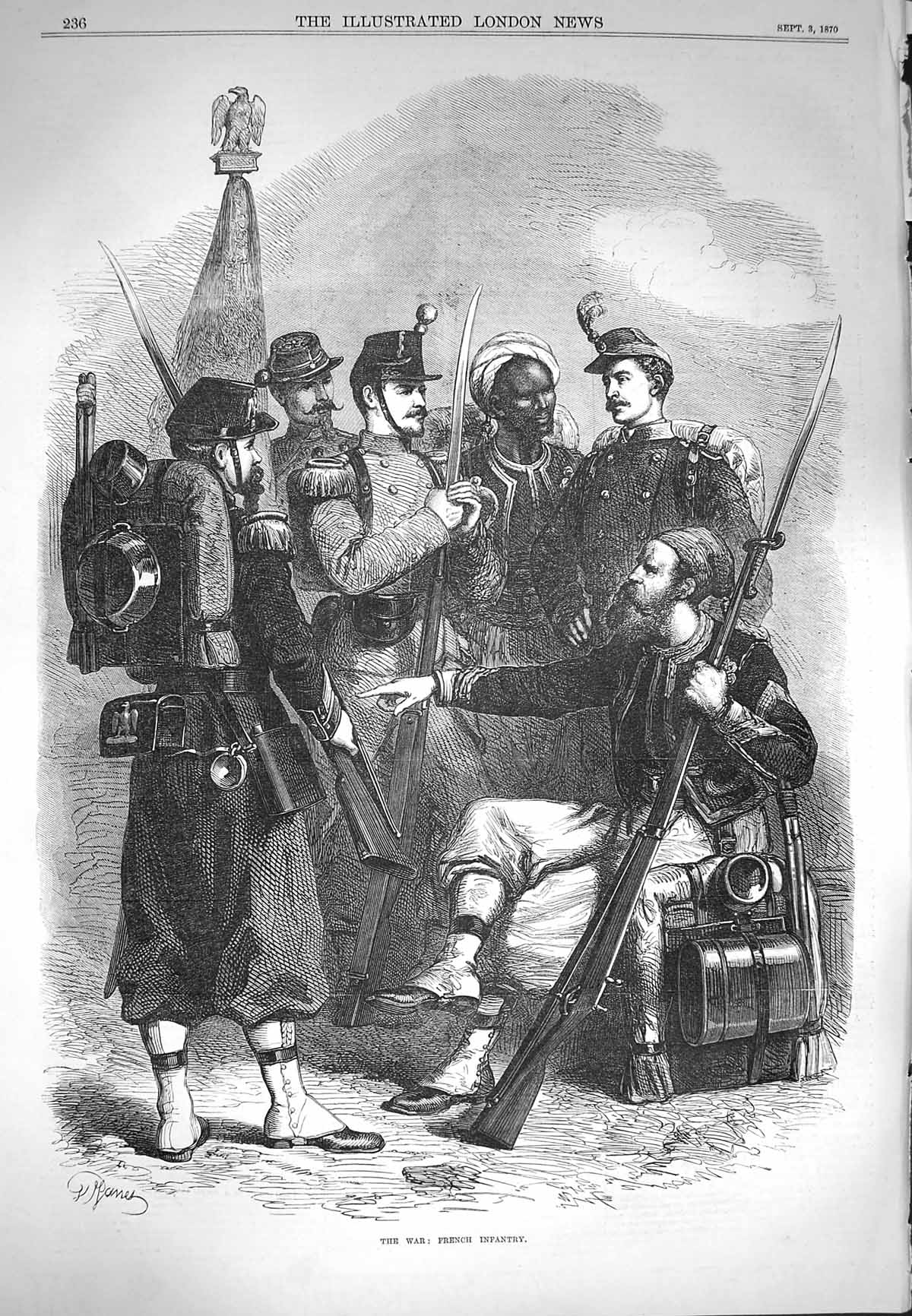 [Print 1870 War French Infantry Soldiers Prussian Army 236P157 Old Original]