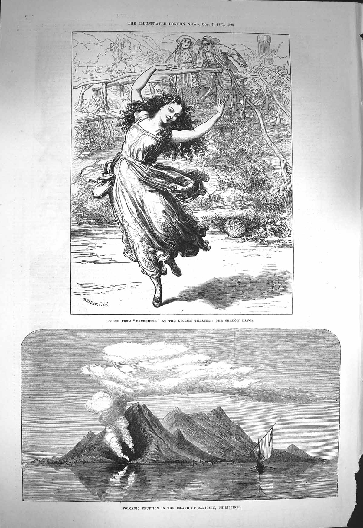 Print 1871 Volano Eruption Camiguin Philippines Theatre Dance  Old Original