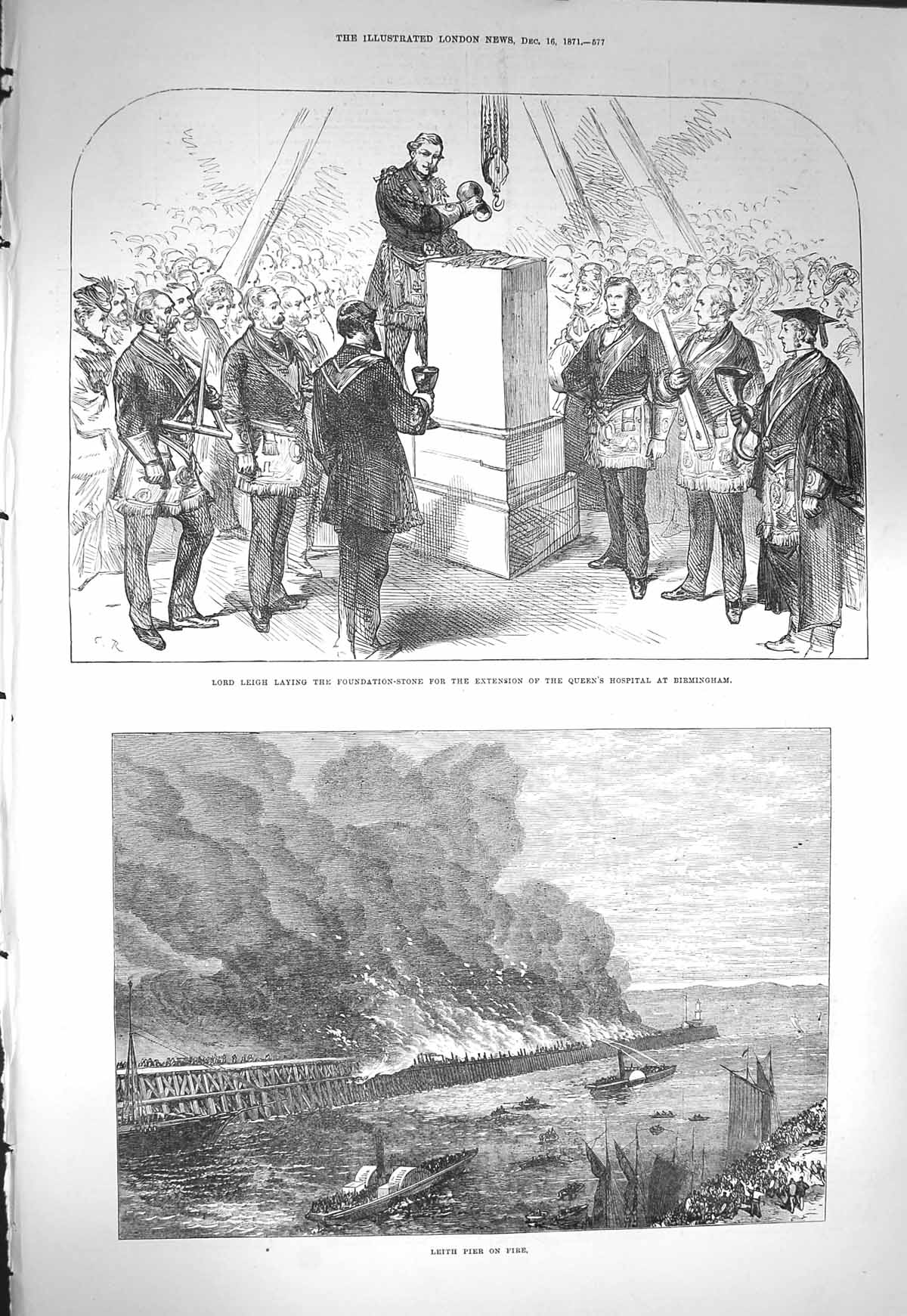 [Print 1871 Lord Leigh Foundation Queen'S Hospital Leith Pier  Old Original]