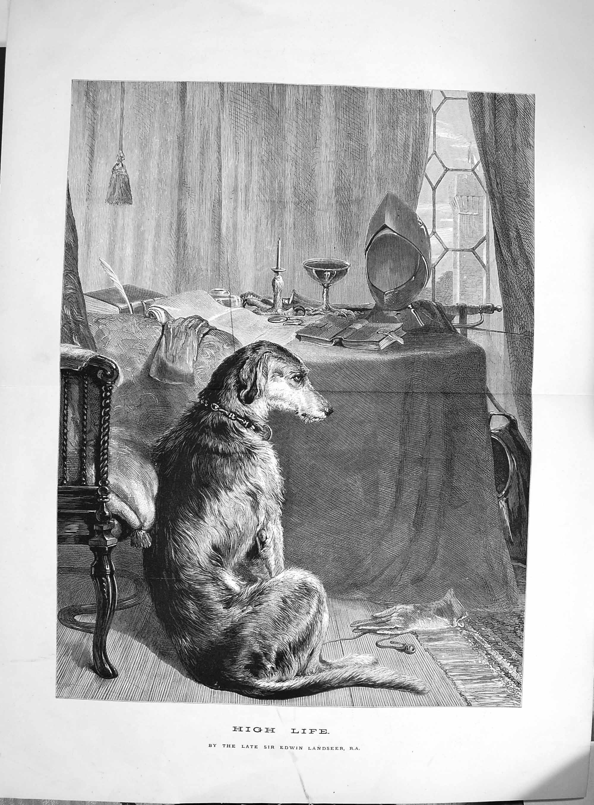 [Print 1874 High Life Edwin Landseer Puppy Dog Table Chair  Old Original]