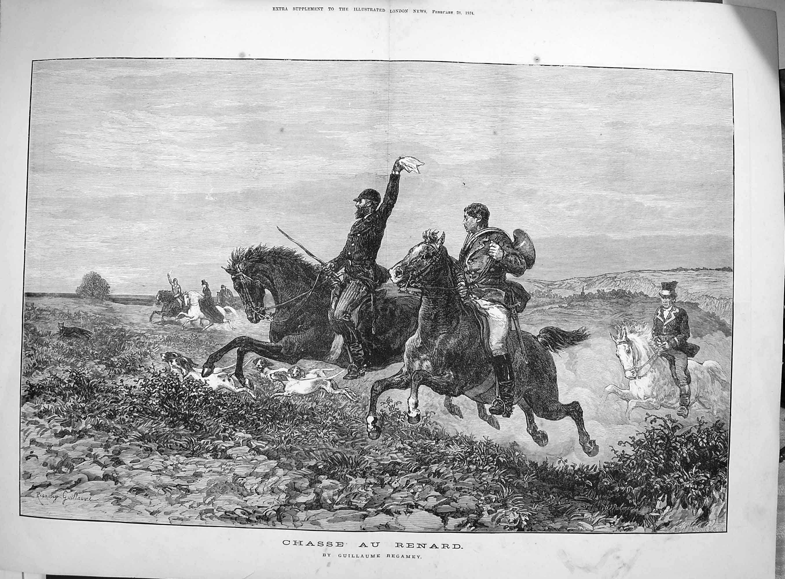 [Print 1874 Guillaume Regamey Horses Hunting Sport Dogs 198Tp164 Old Original]