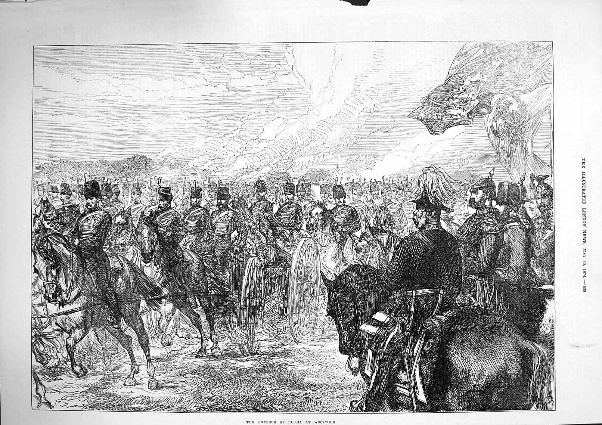 [Print 1874 Emperor Russia Woolwich Soldiers Horses War 509P164 Old Original]