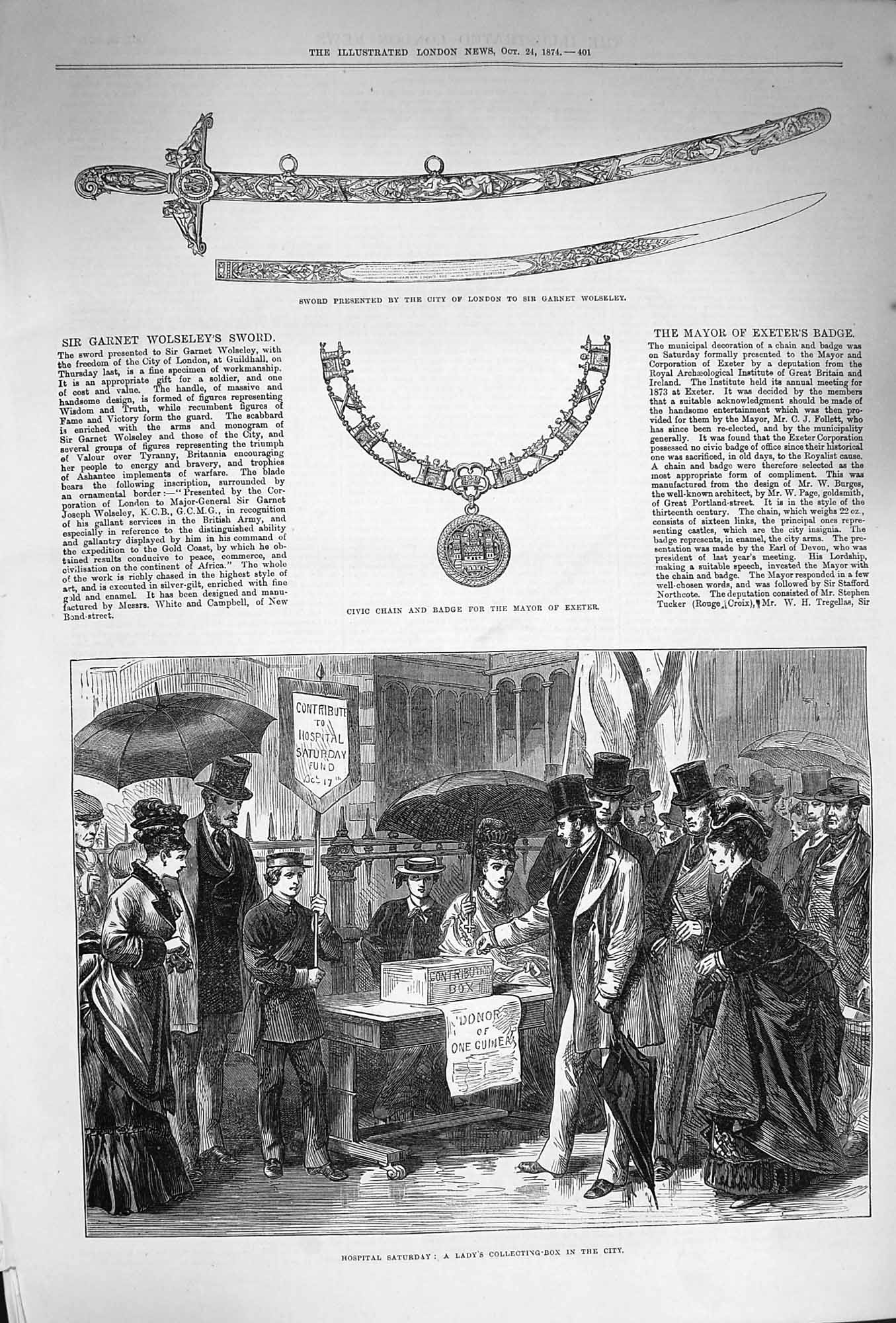 [Print 1874 Civic Badge Chain Mayor London Hospital Charity 401P165 Old Original]