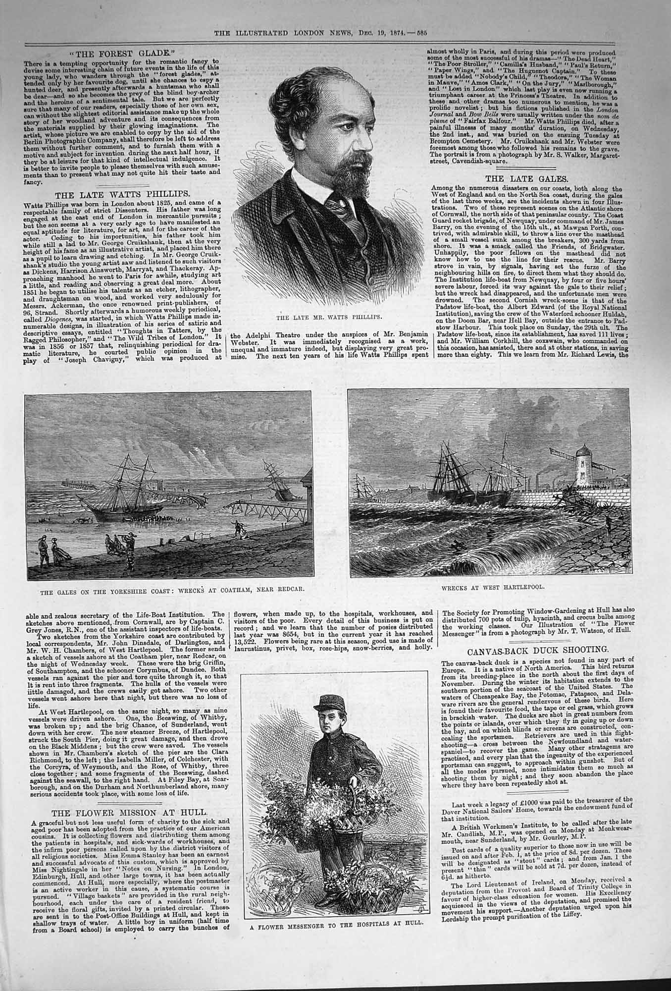 [Print 1874 Watts Phillips Flowers Hospital Hull Ships Coatham 585P165 Old Original]
