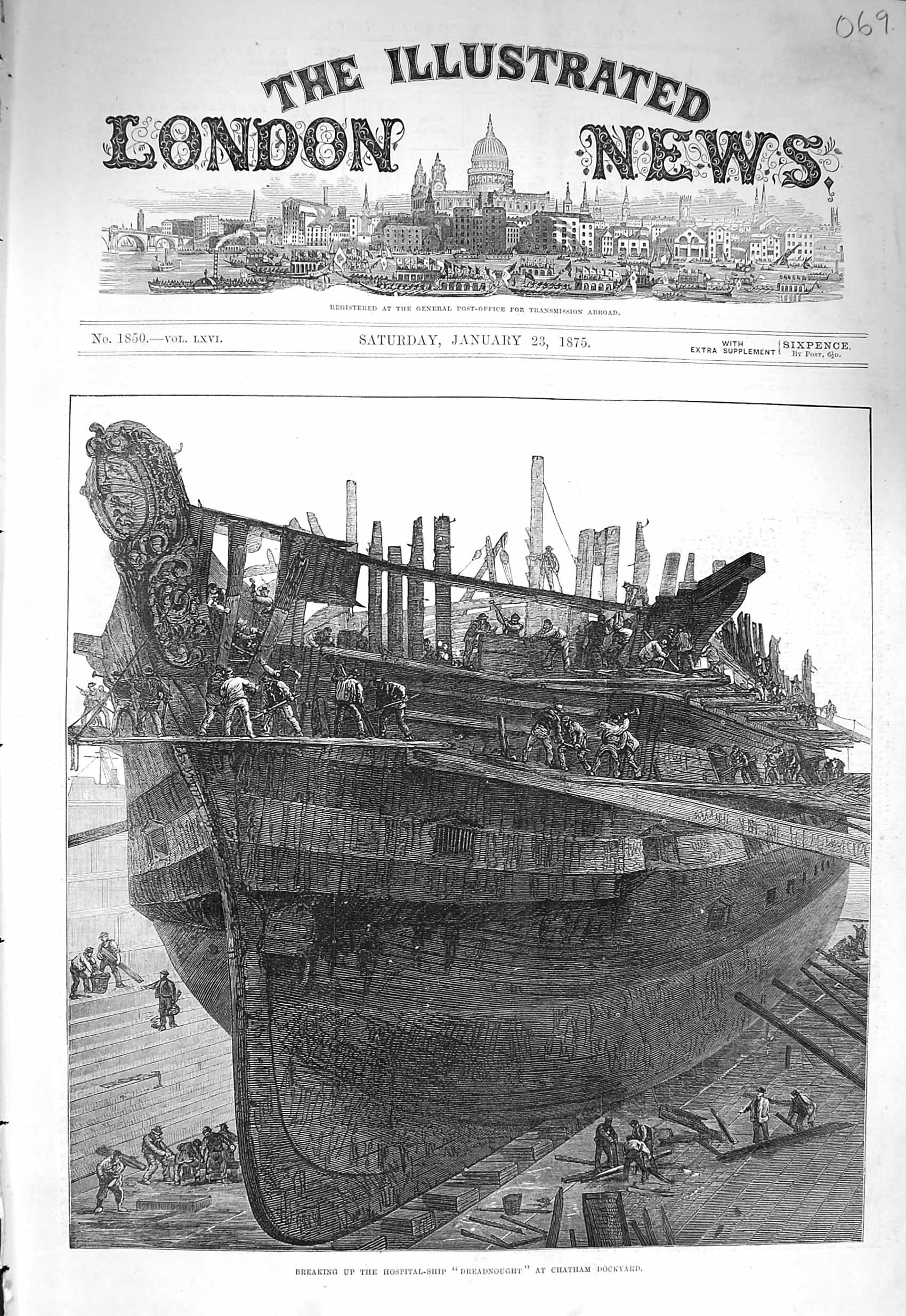 [Print 1875 Breaking Hospital Ship Dreadnought Chatham Docks 069P166  Old Original]