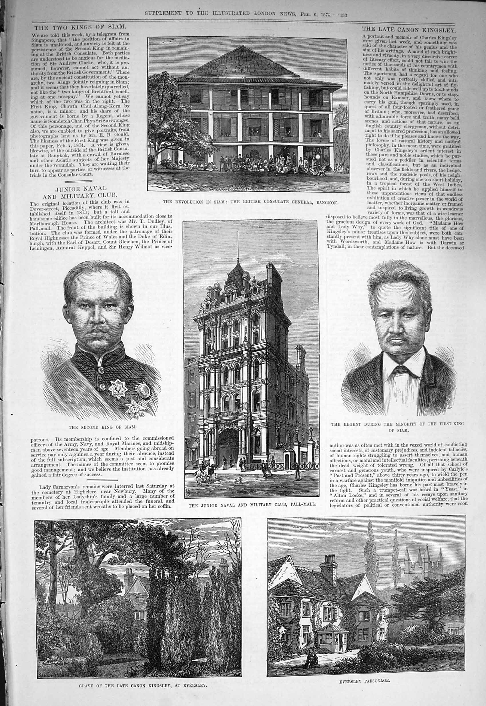 [Print 1875 Siam Consulate Bangkok King Eversley Parsonage  Old Original]