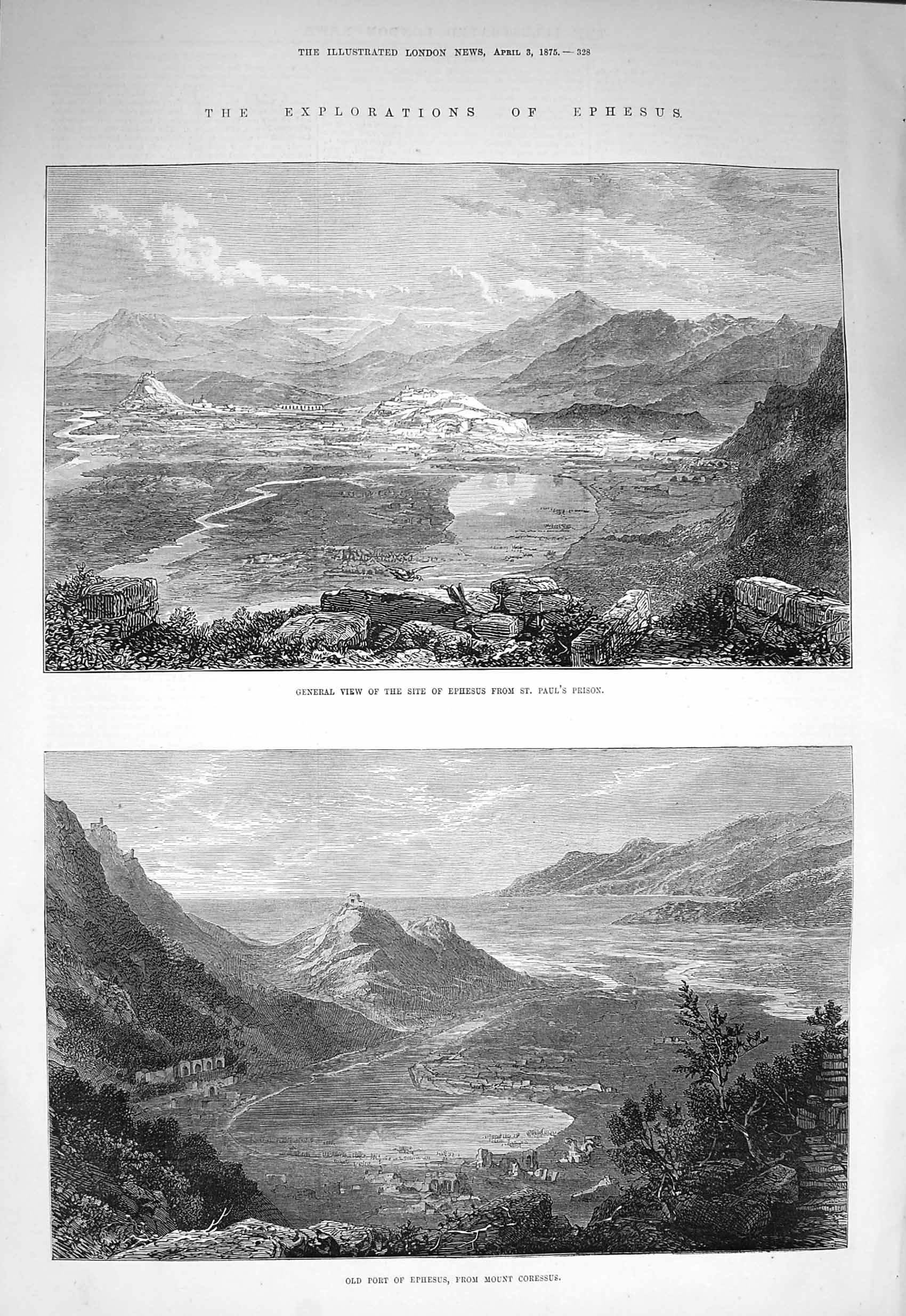[Print 1875 Ephesus St. Paul'S Prison Port Mount Coressus Old Original]