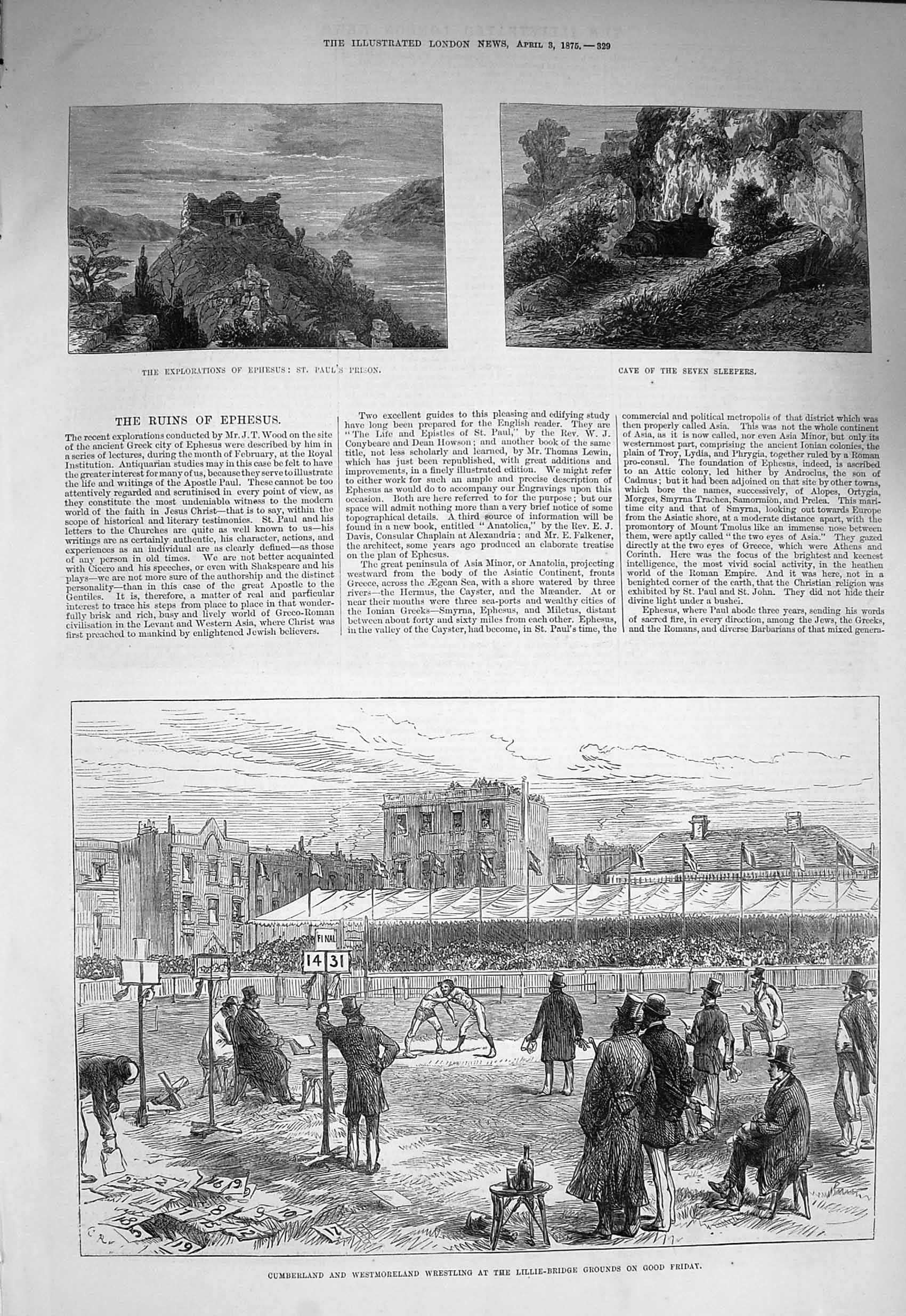 [Print 1875 Wrestling Lillie-Bridge Ephesus Paul'S Prison Cave Old Original]