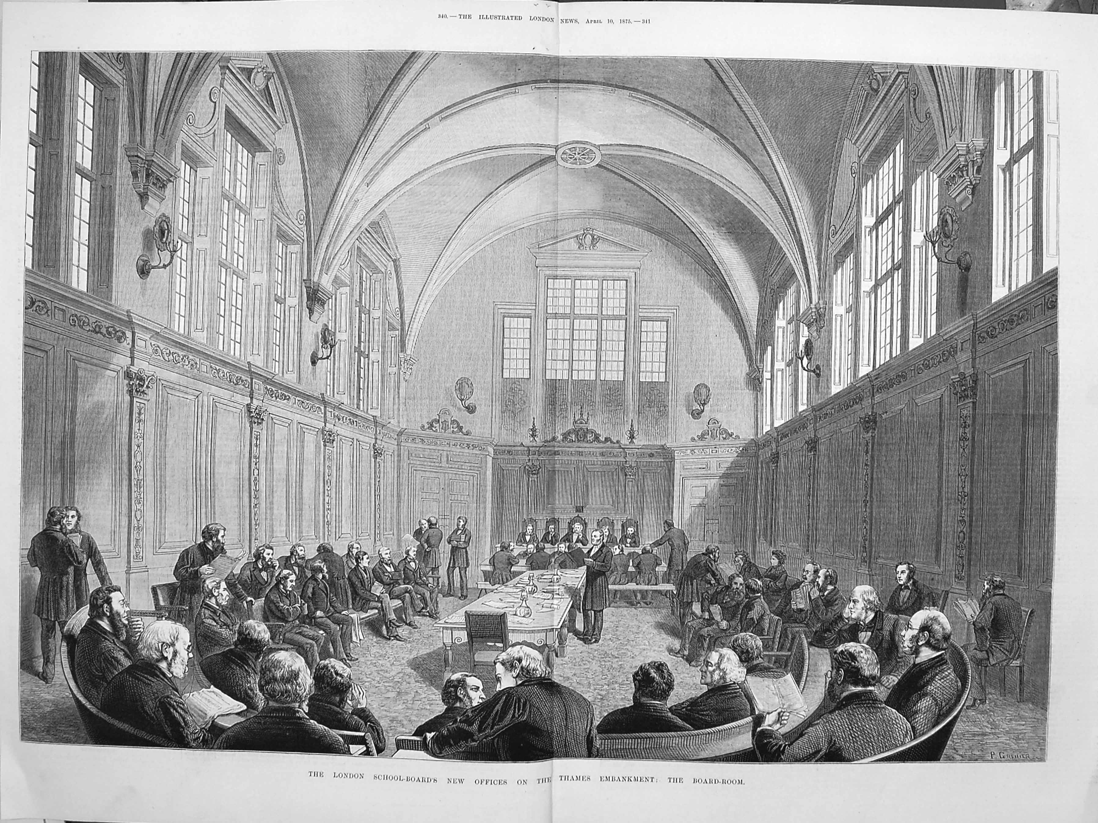 [Print 1875 London School Board Thames Embankment Board-Room Old Original]