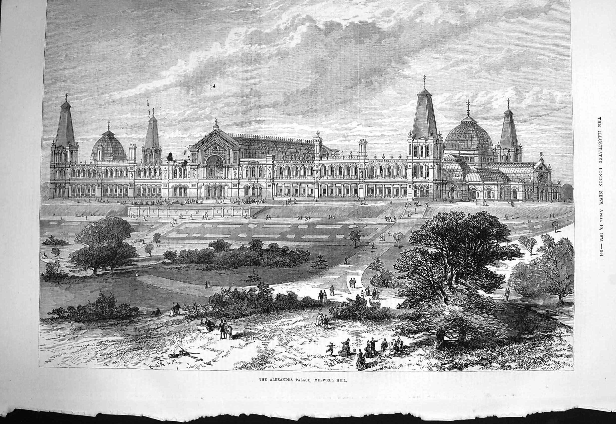 [Print 1875 Exterior Alexandra Palace Muswell Architecture  Old Original]
