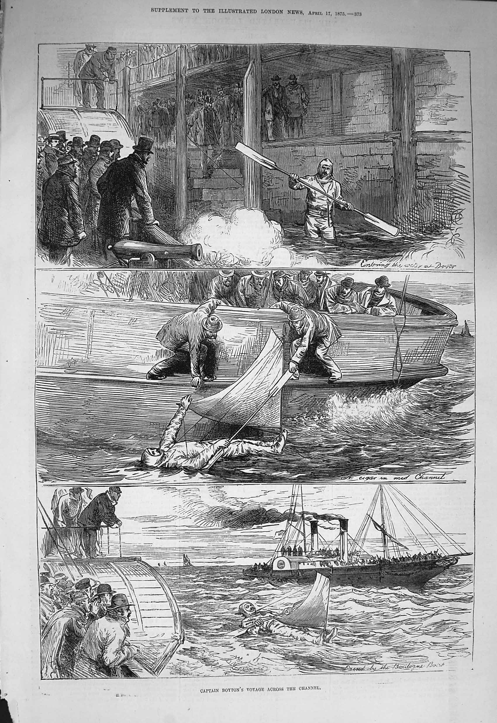 [Print 1875 Captain Boyton English Channel Dover Boulogne Boat  Old Original]