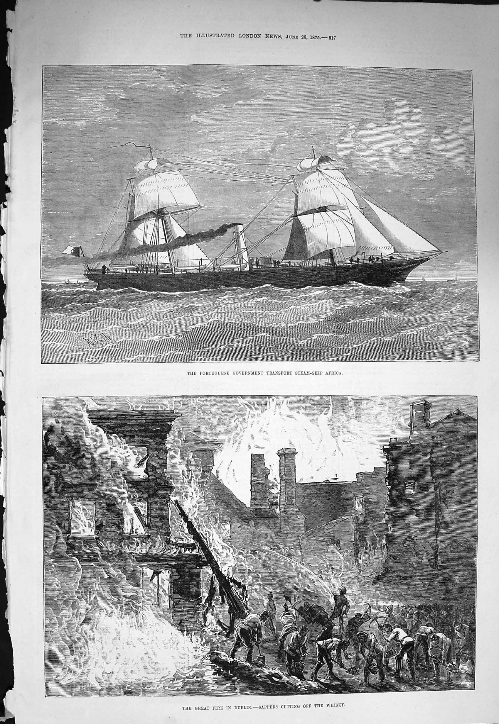 [Print *3317 1875 Portuguese Ship Africa Fire Dublin Sappers Whisky 617P166 Old Original]