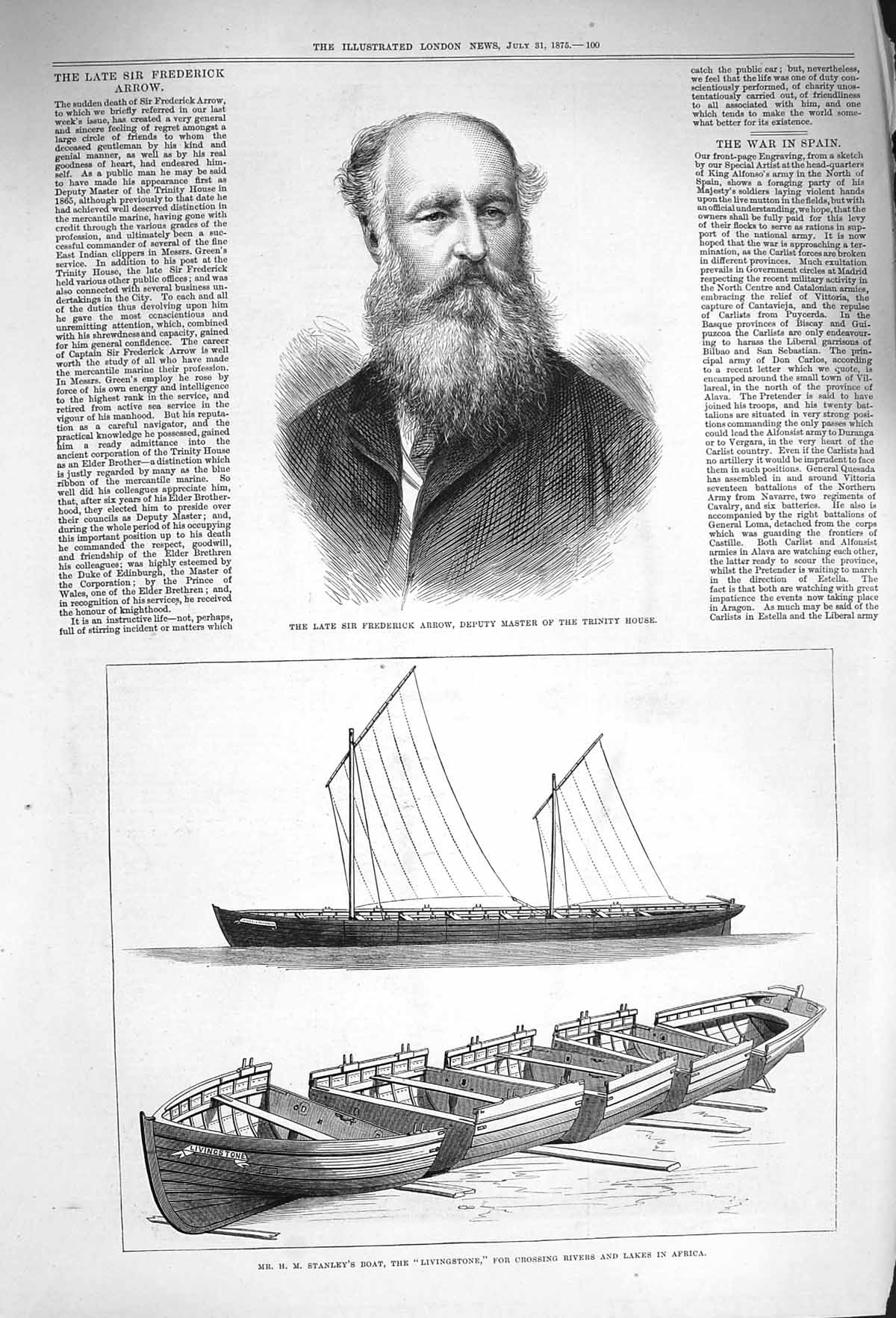 [Print 1875 Frederick Arrow Stanley Boat Livingstone Africa 100P167 Old Original]