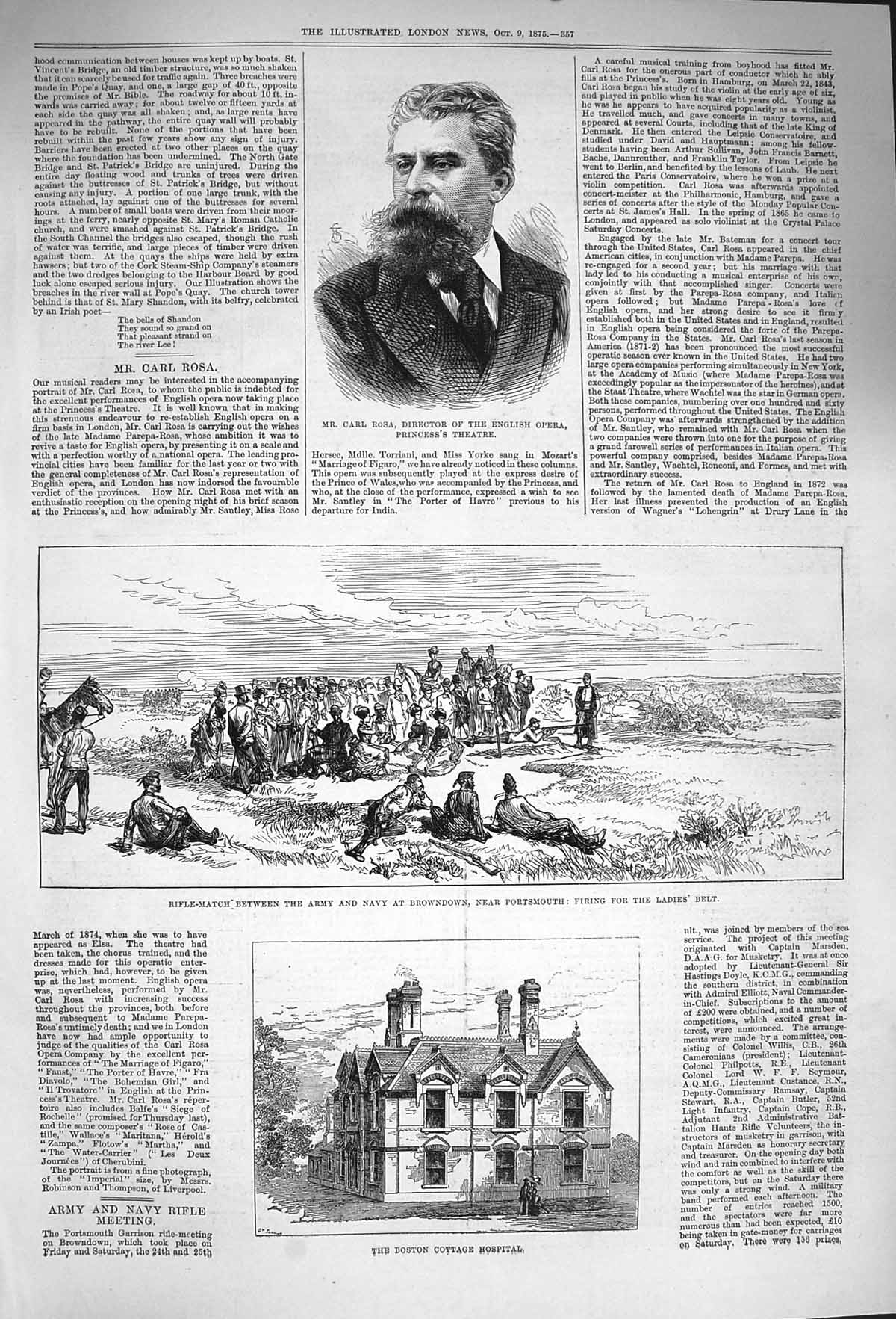 [Print 1875 Carl Rosa Boston College Hospital Rifle Browndown 357P167 Old Original]