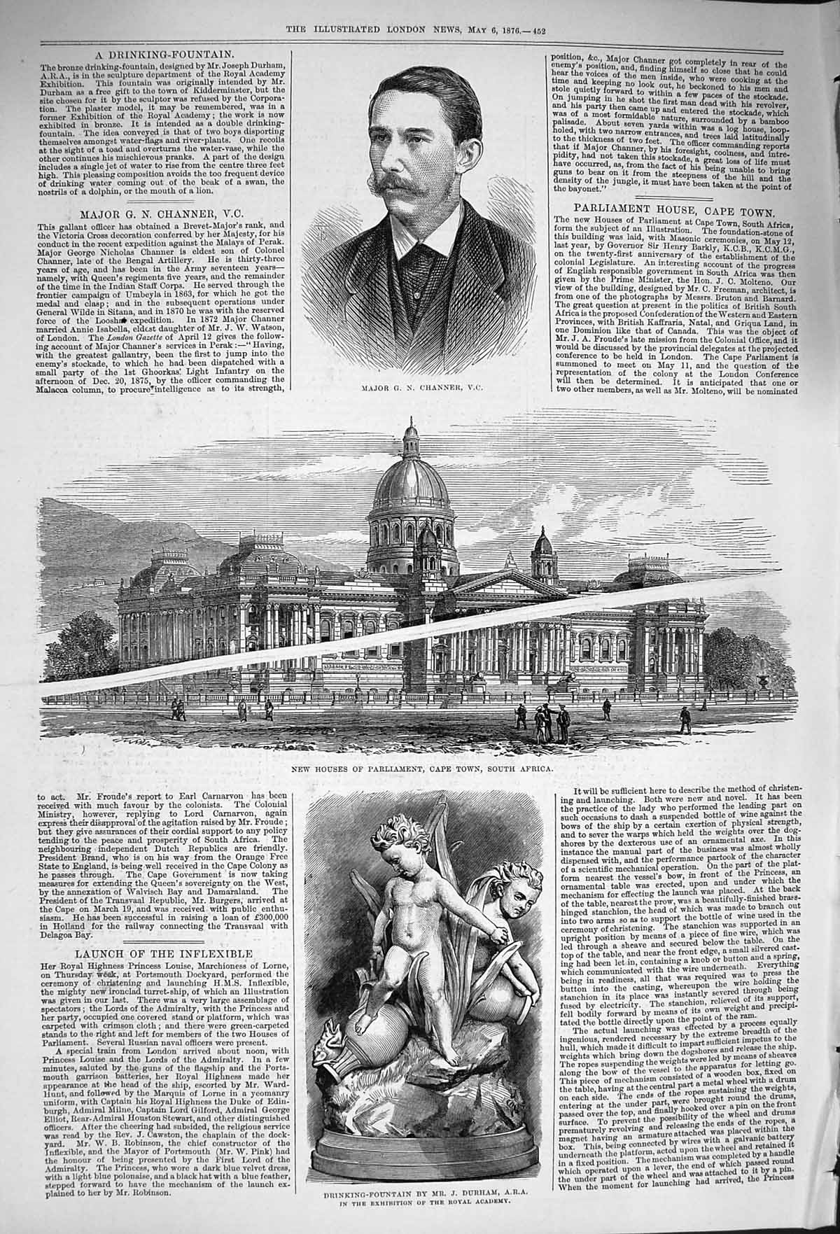 [Print *4017 1876 Major Channer Houses Parliament Africa Fountain 452P168 Old Original]