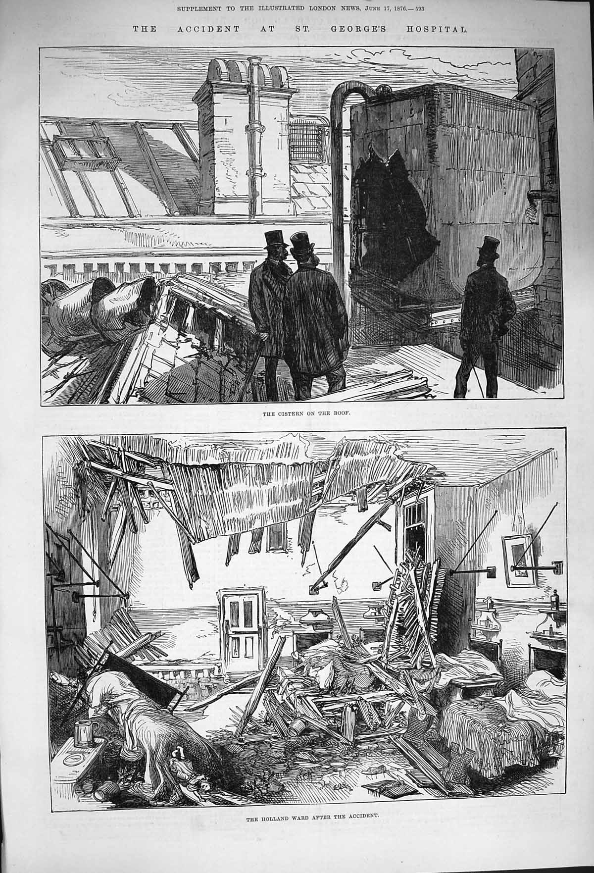 [Print 1876 George'S Hospital Holland Ward Accident Cistern 593P168 Old Original]