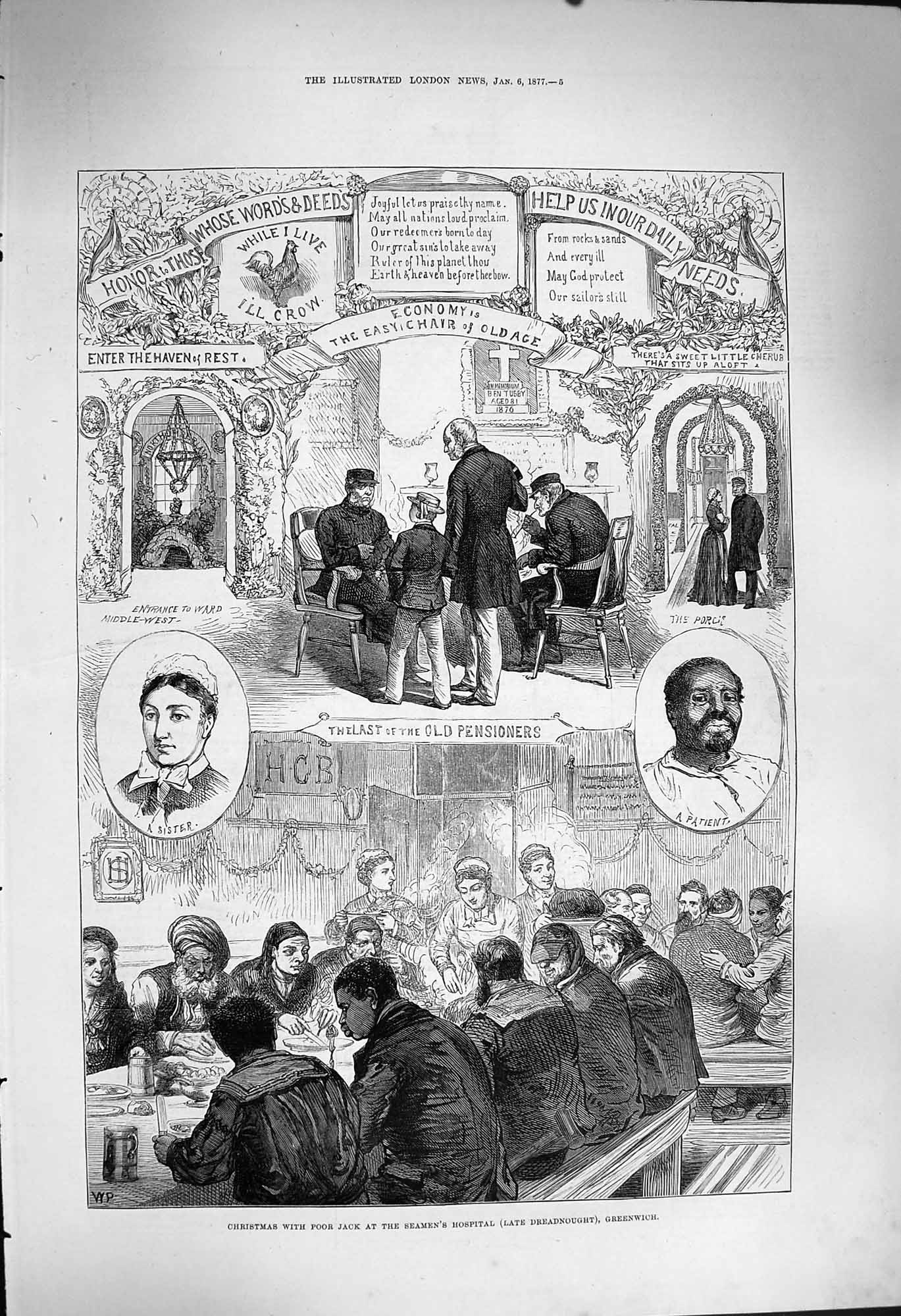 [Print 1877 Christmas Poor Jack Seamans Hospital Greenwich 005P170 Old Original]