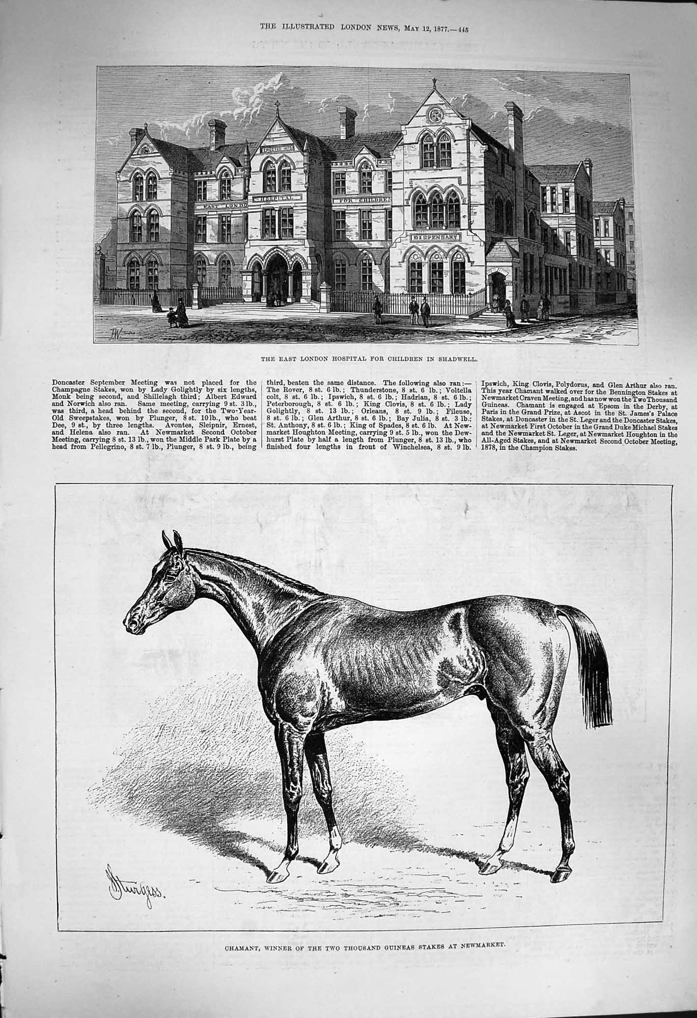 [Print 1877 London Hospital Children Shadwell Chamant Horse 445P170 Old Original]