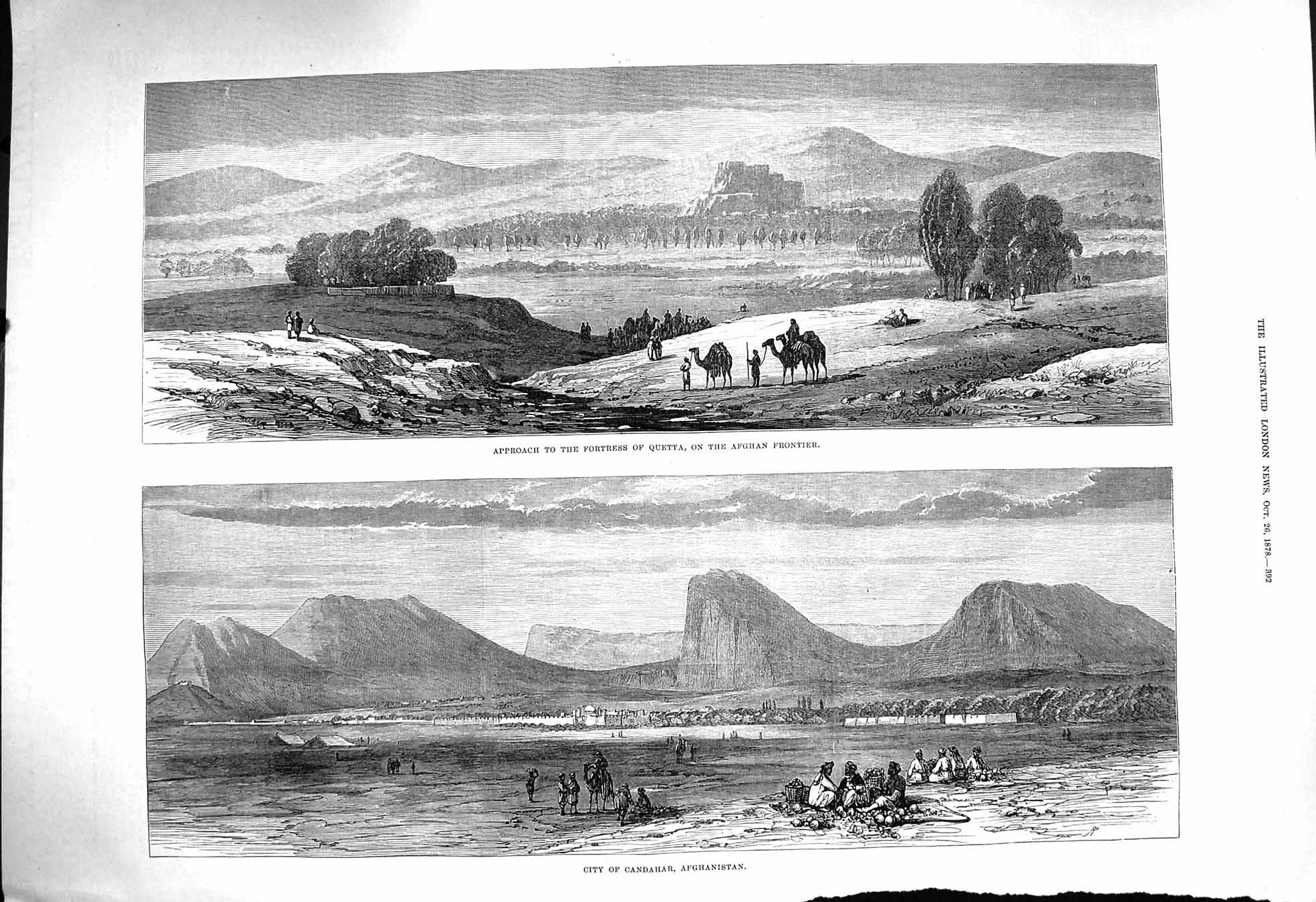 [Print 1878 Fortress Quetta Afghan City Candahar Afghanistan 392P172 Old Original]