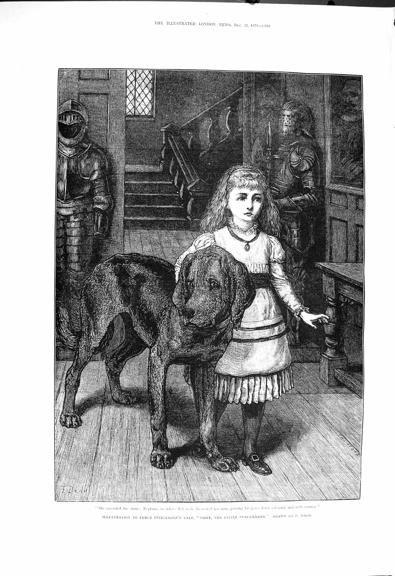 [Print 1878 Percy Fitzgerald Cissy Peacemaker Girl Dog Daad 580P172 Old Original]