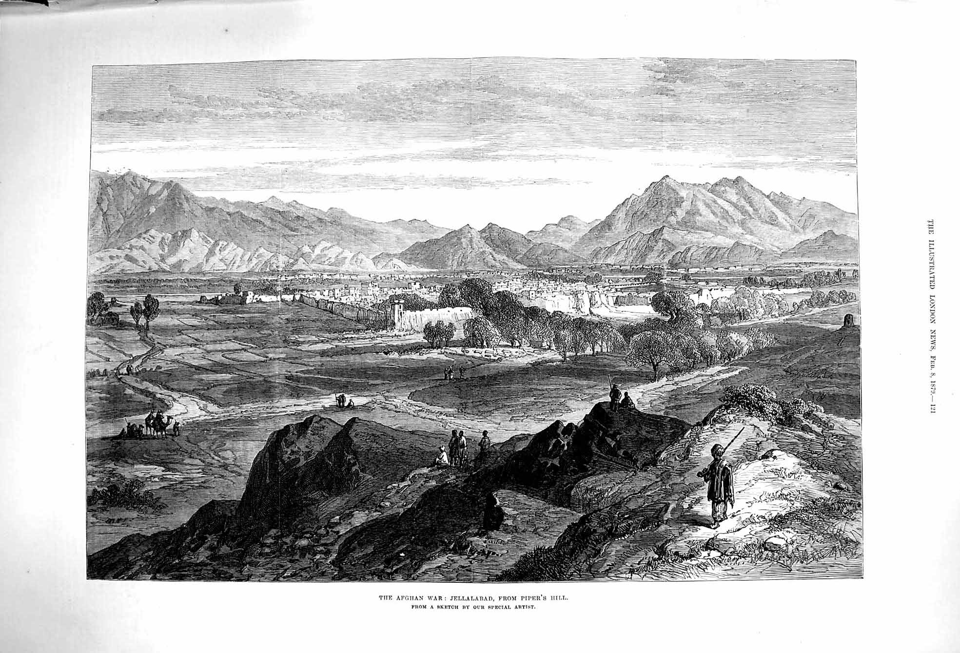 [Print 1879 Afghan War Jellalabad Piper'S Hill Mountains Army 121P174 Old Original]