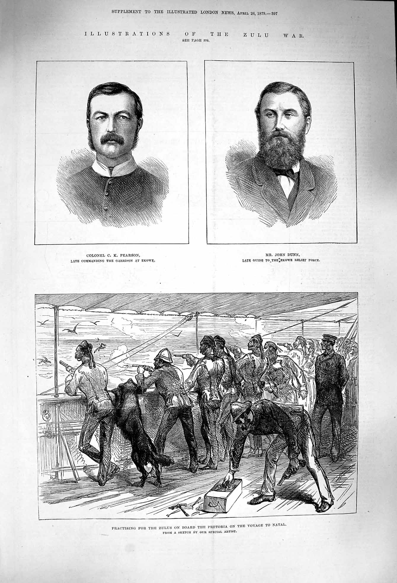 [Print 1879 Zulu War Pearson Dunn Deck Ship Pretoria Natal 397P174 Old Original]