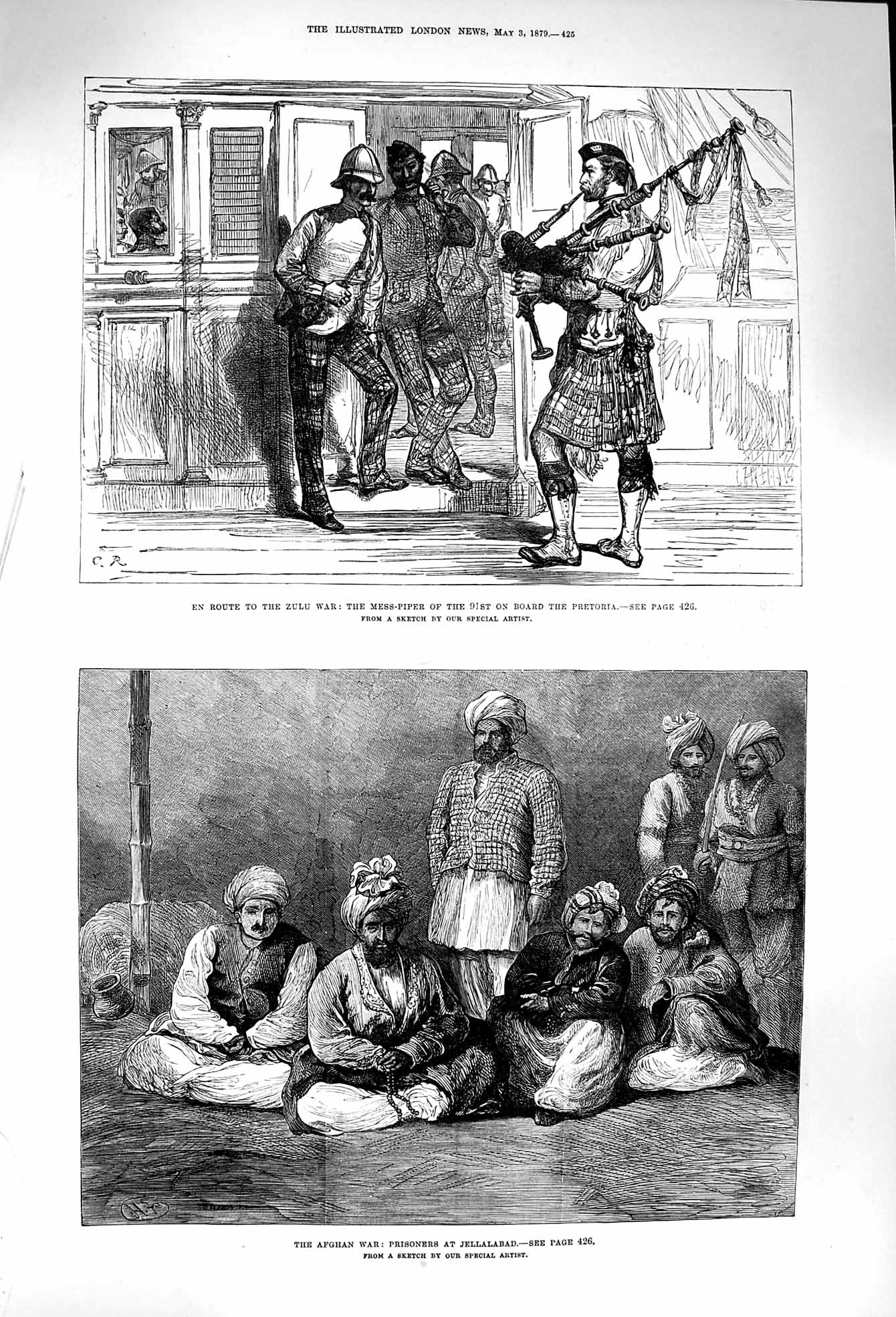 [Print 1879 Zulu War Piper Pretoria Ship Prisoners Jellalabad 425P174 Old Original]