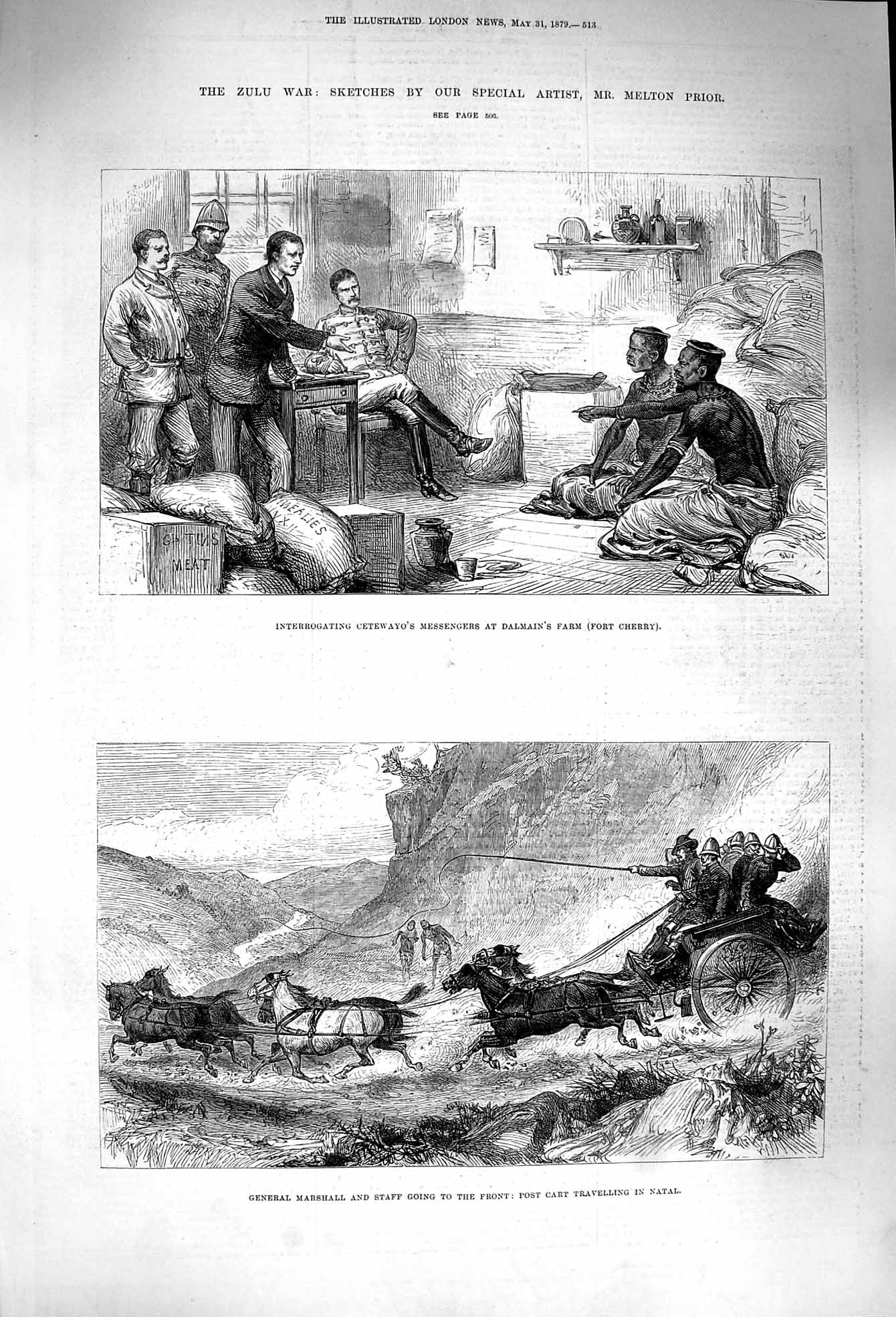 [Print 1879 Zulu War Cetewayo Dalmain Farm Marshall Natal Cart 513P174 Old Original]
